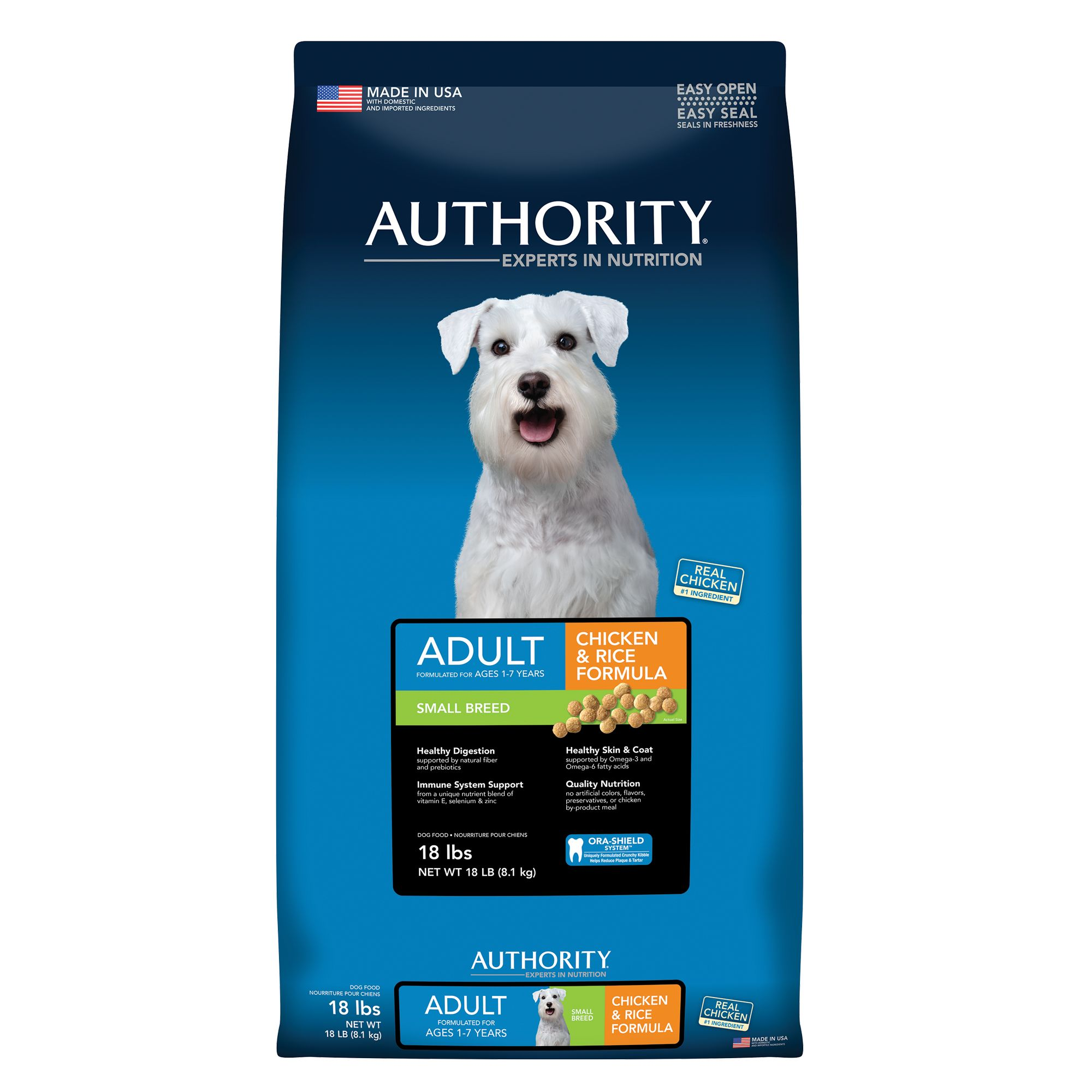 Authority Small Breed Adult Dog Food - Chicken and Rice size: 18 Lb, Kibble 5221187