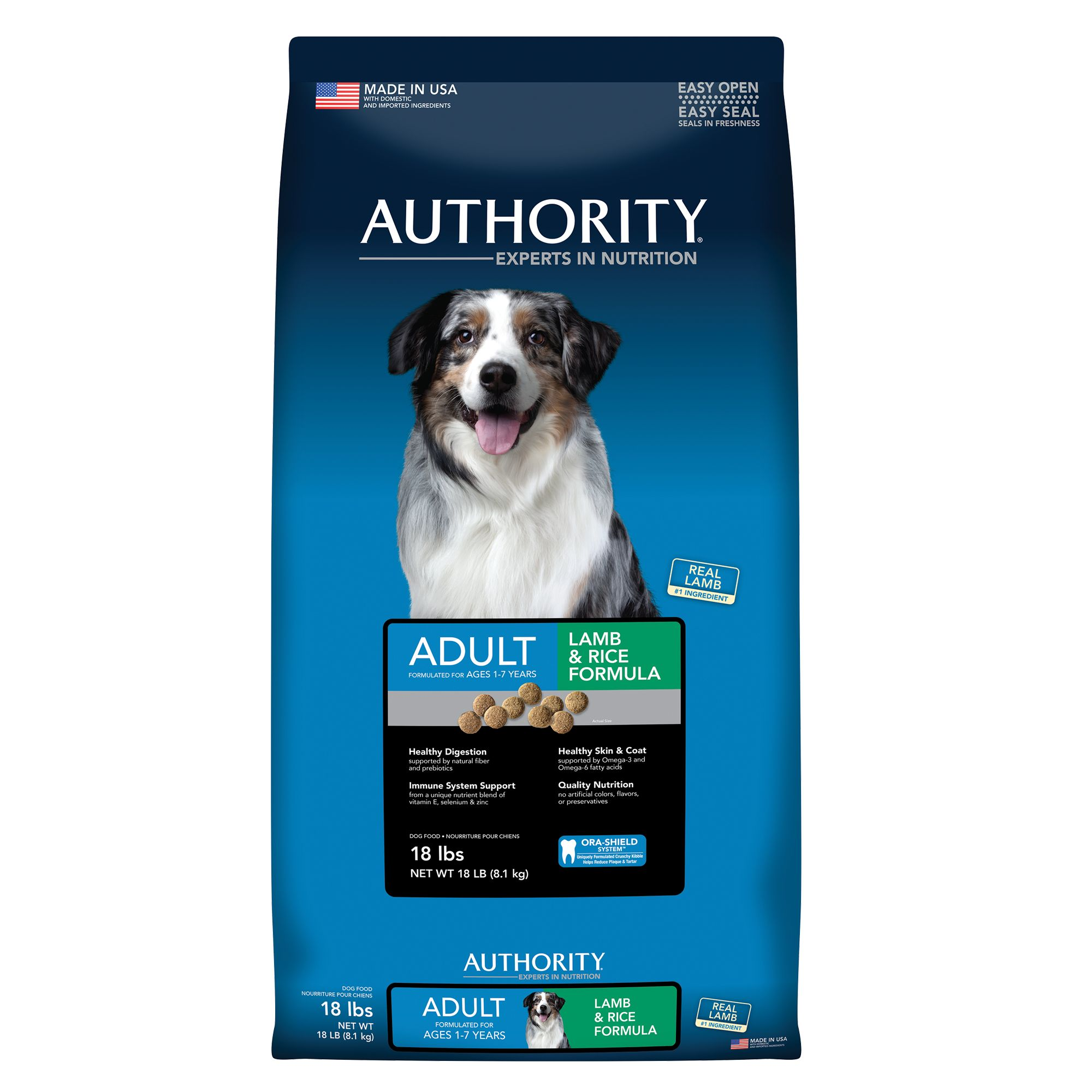 Authority Adult Dog Food - Lamb and Rice size: 18 Lb, Kibble 5221188