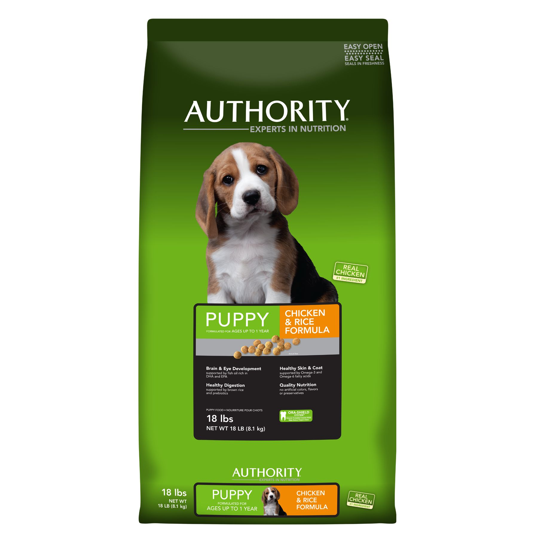 Authority® Puppy Food - Chicken and Rice size: 18 Lb
