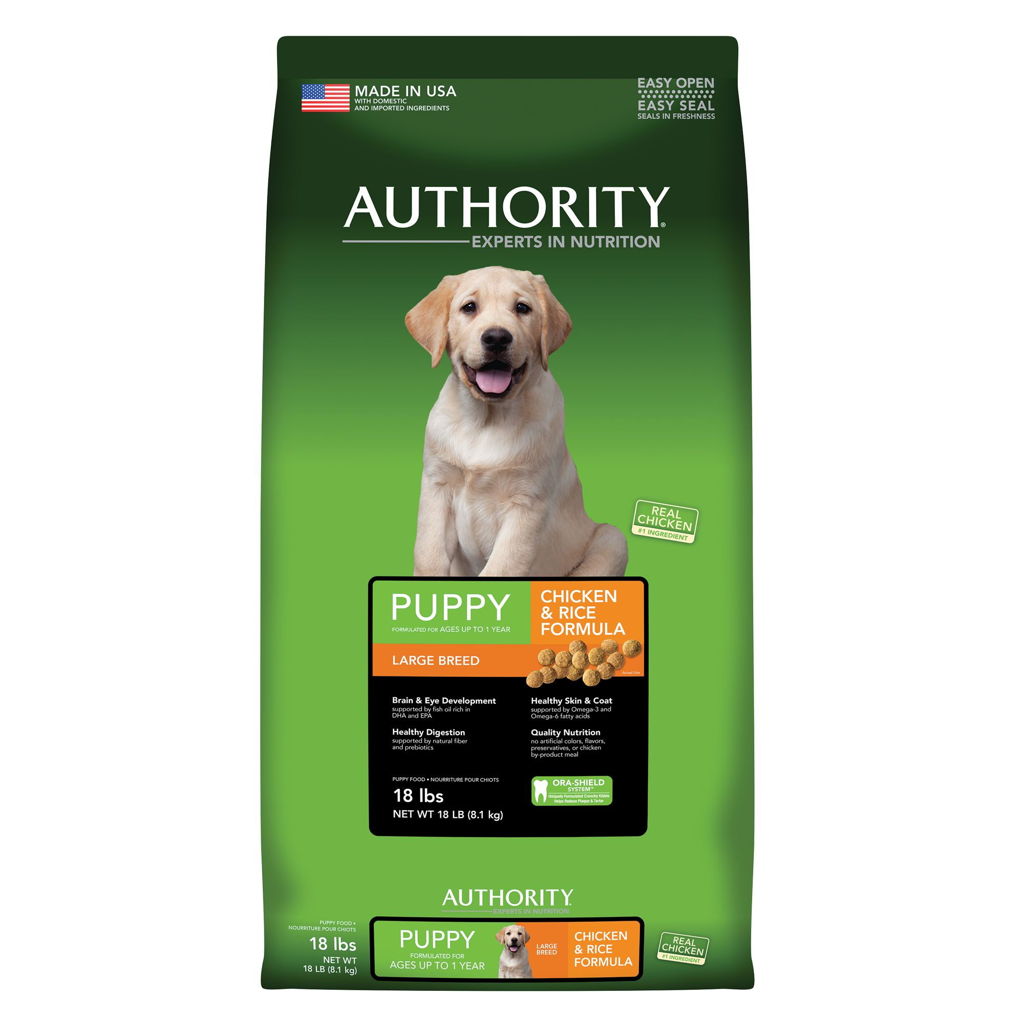 737257535534 UPC - Authority Large Breed Puppy Food Chicken, 18lb