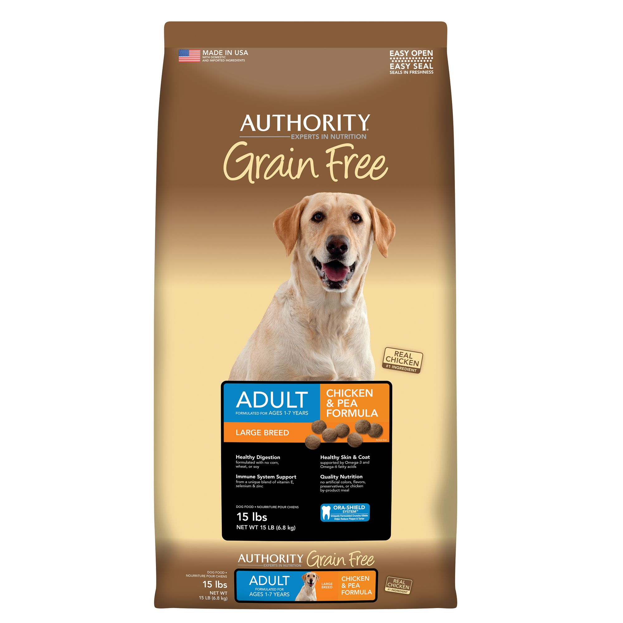 Authority® Large Breed Adult Dog Food - Grain Free, Chicken and Pea size: 15 Lb