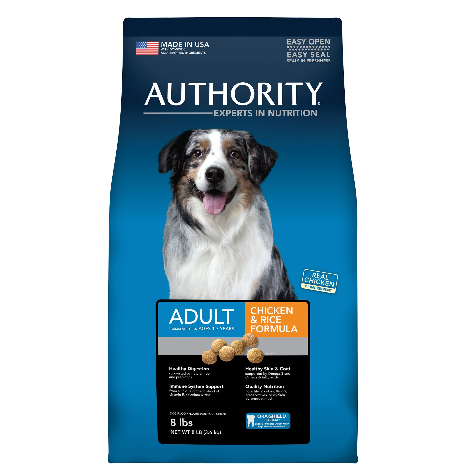 Authority Adult Dog Food Chicken And Rice Size 8 Lb