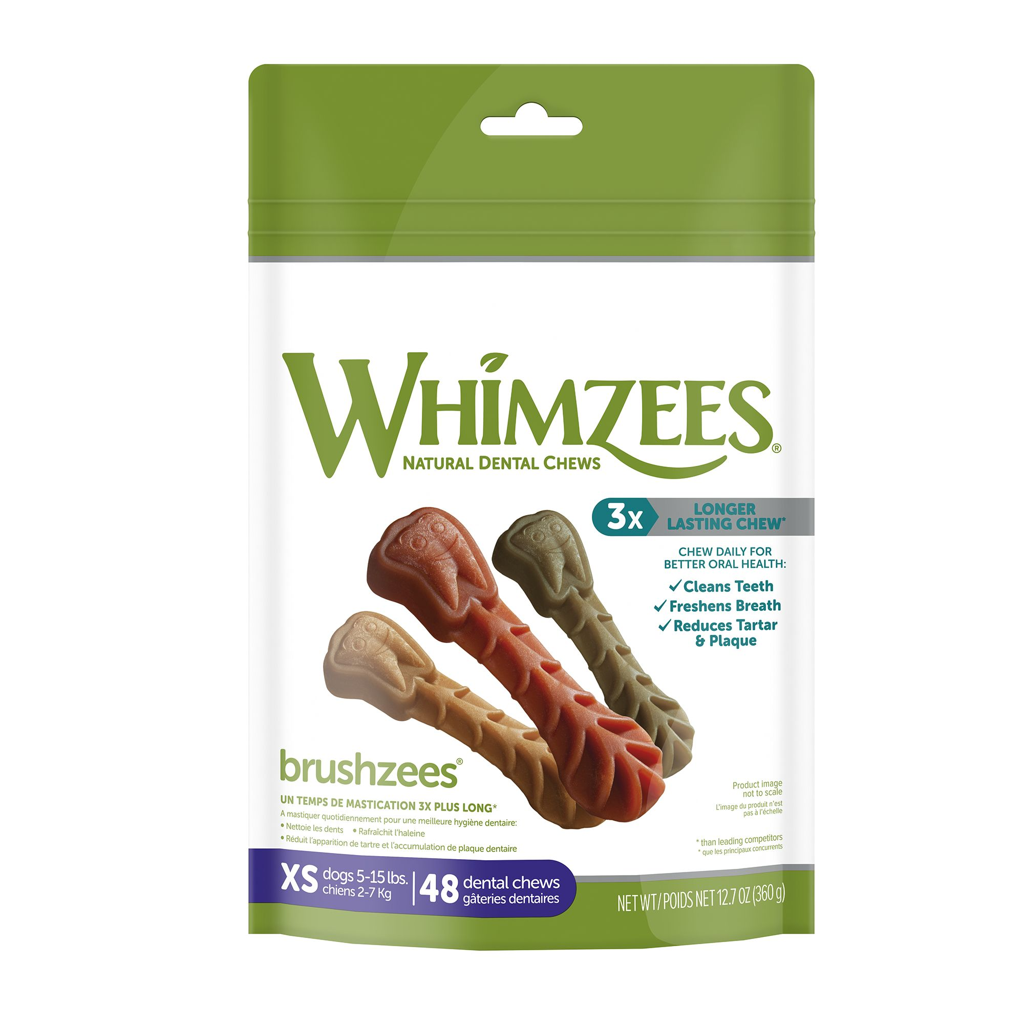 Whimzees Dental Care Toothbrush Extra Small Dog Treat Natural Gluten Free Vegetarian Size 49 Count