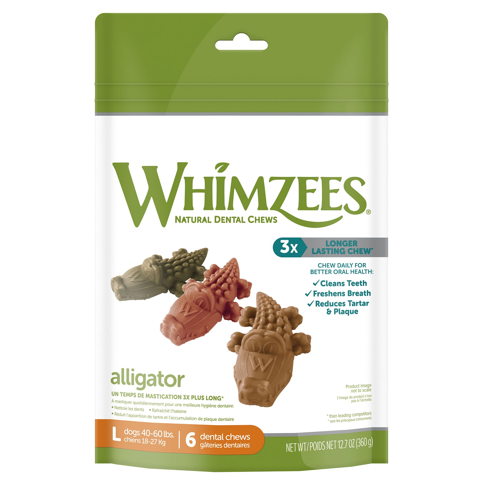Whimzees Dental Care Alligator Large Dog Treat Natural Gluten Free Vegetarian Size 6 Count