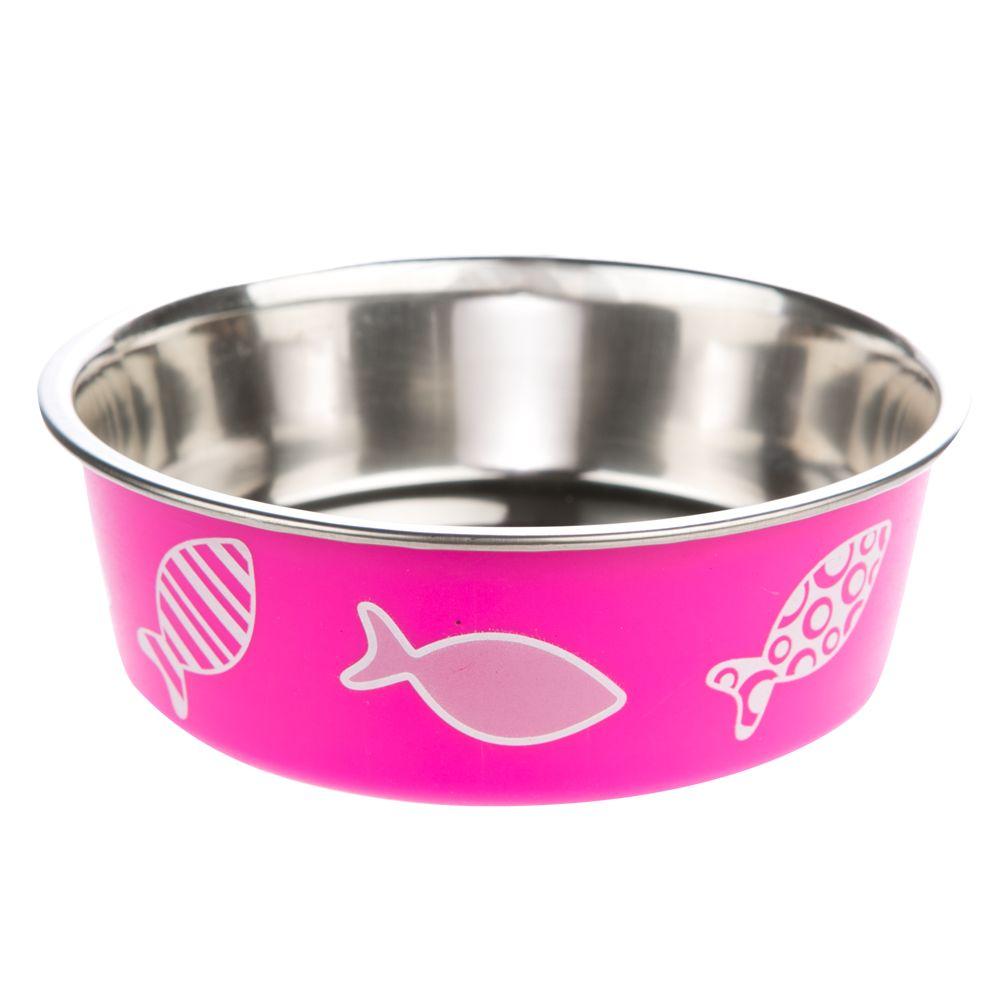 Whisker City Bella Fish Cat Bowl Size 16 Oz Pink