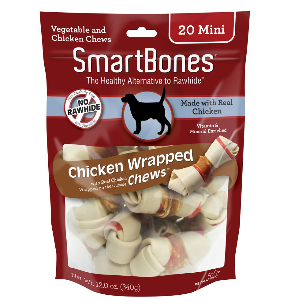 Smartbones Chicken Wrapped Mini Chews Dog Treat Chicken Size 20 Count