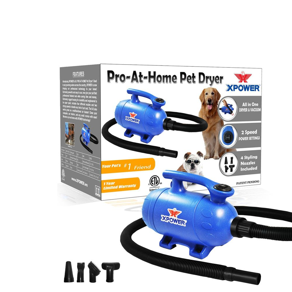 Xpower B 2 2 Speed Pro At Home Pet Dryer Vacuum 2 Hp Blue