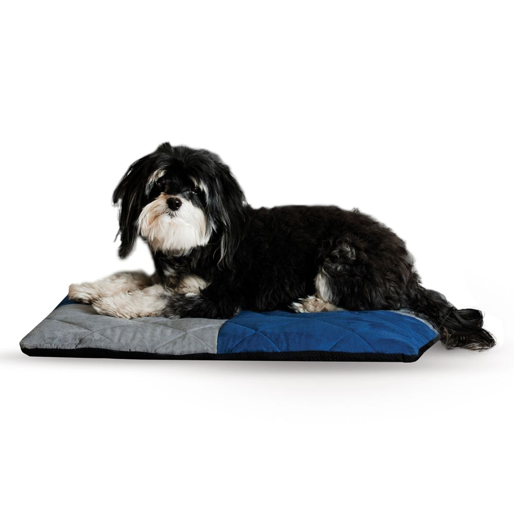 """KandH Quilted 1/2"""" Recollection Foam Dream Dog Bed size: 19.5""""L x 25""""W x 2""""H, Blue & Gray, K & H"""