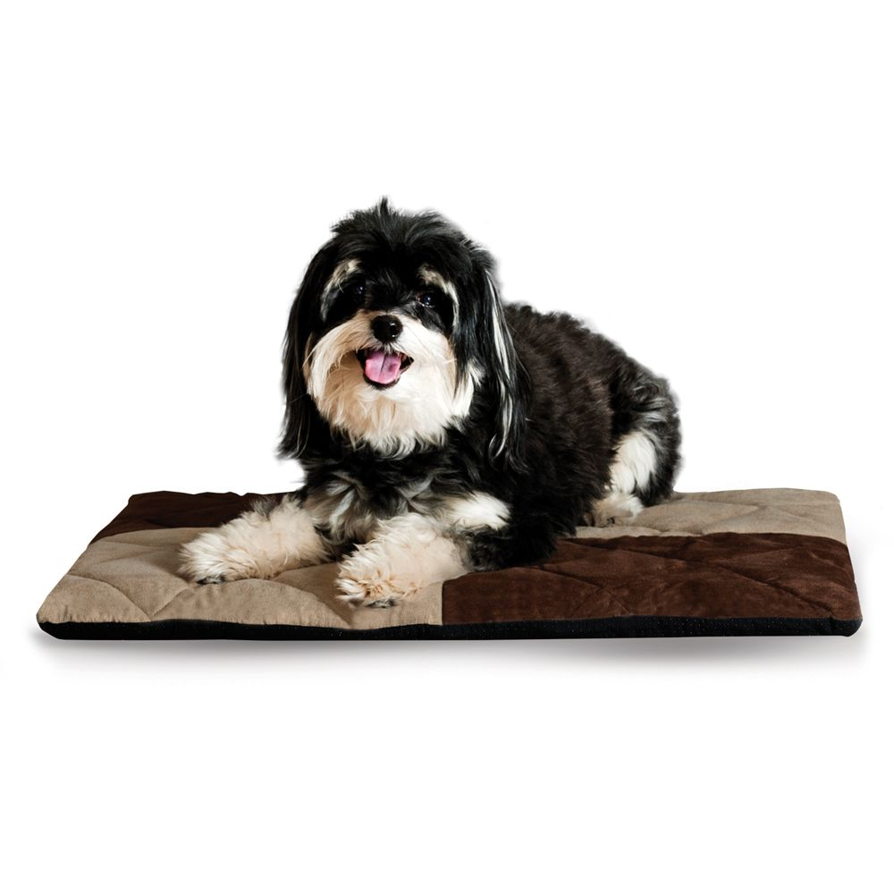 """KandH Quilted 1/2"""" Celebration Foam Dream Dog Bed size: 19.5""""L x 25""""W x 2""""H, Chocolate & Tan, K & H"""