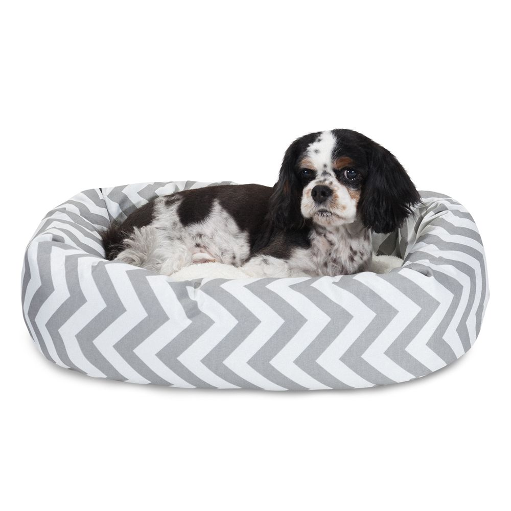 "Majestic Pet Chevron Sherpa Bagel Dog Bed size: 24""L x 19""W"