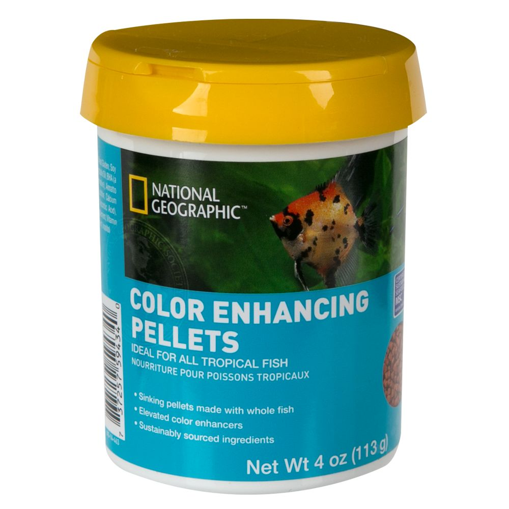 National Geographic Color Enhancing Pellets Fish Food Size 4 Oz