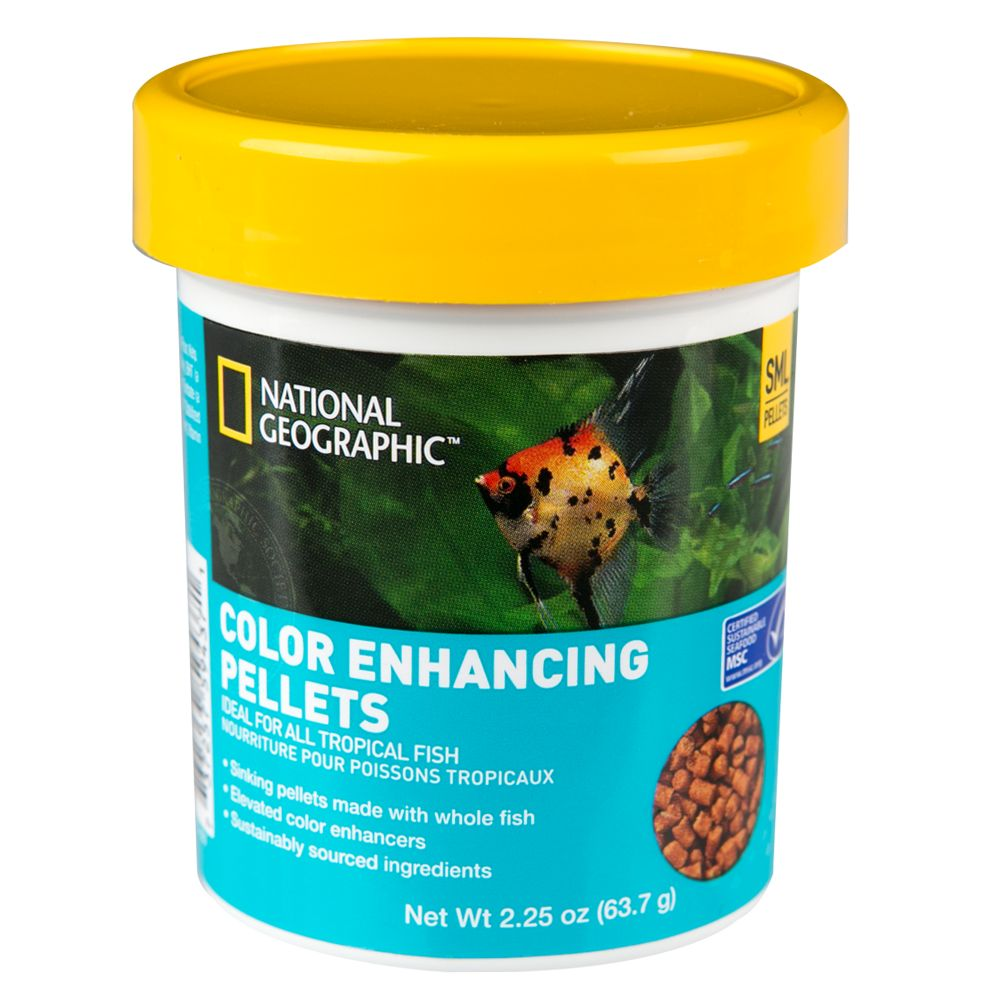 National Geographic Color Enhancing Pellets Fish Food Size 2.25 Oz
