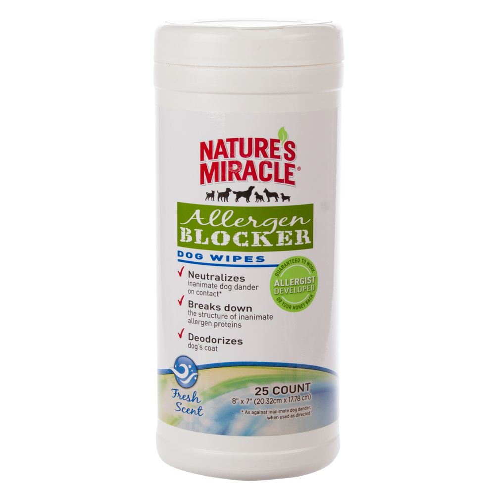Nature's Miracle, Allergen Blocker Dog Wipes size: 25 Count 5229398