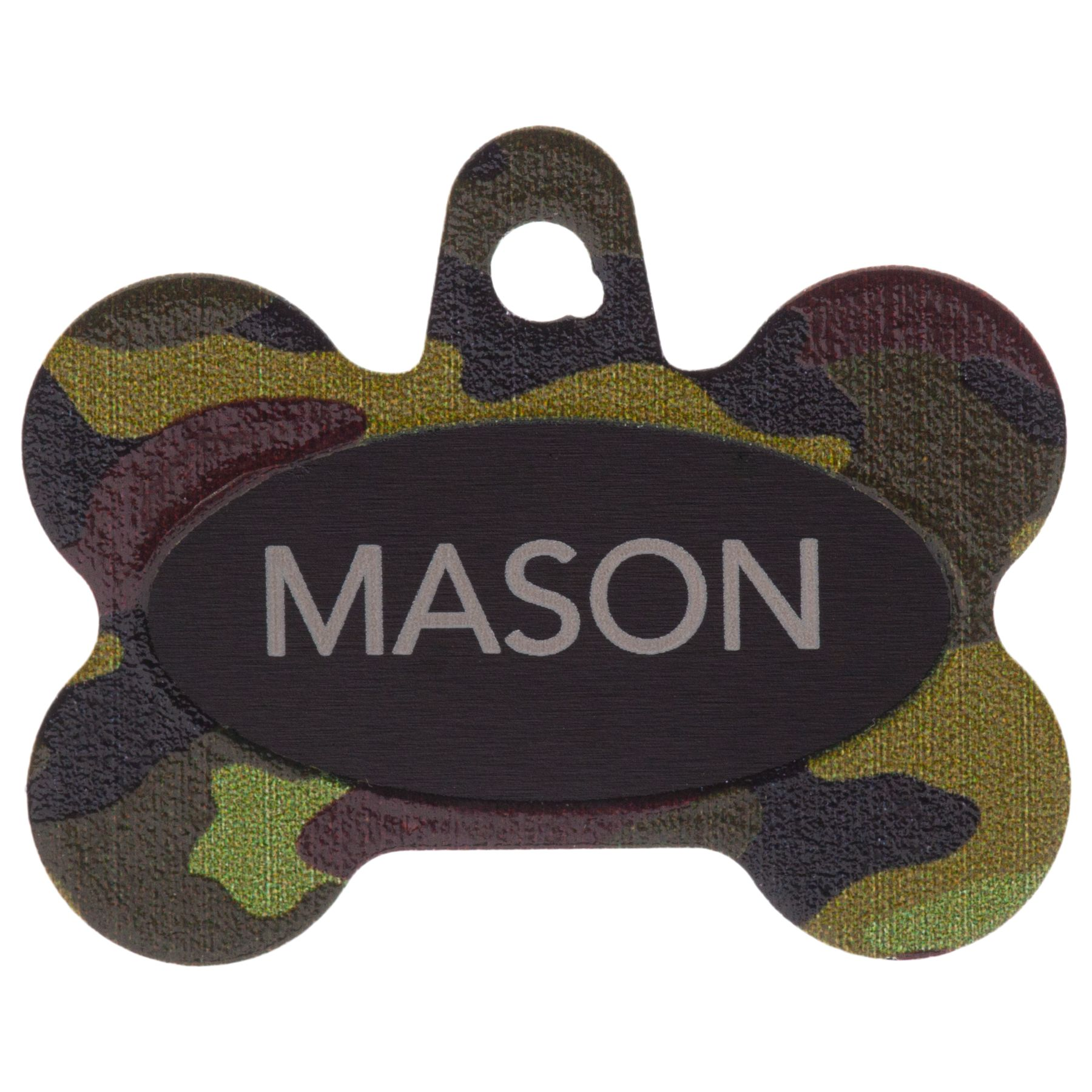 Tagworks Camo Green Bone Personalized Pet Id Tag