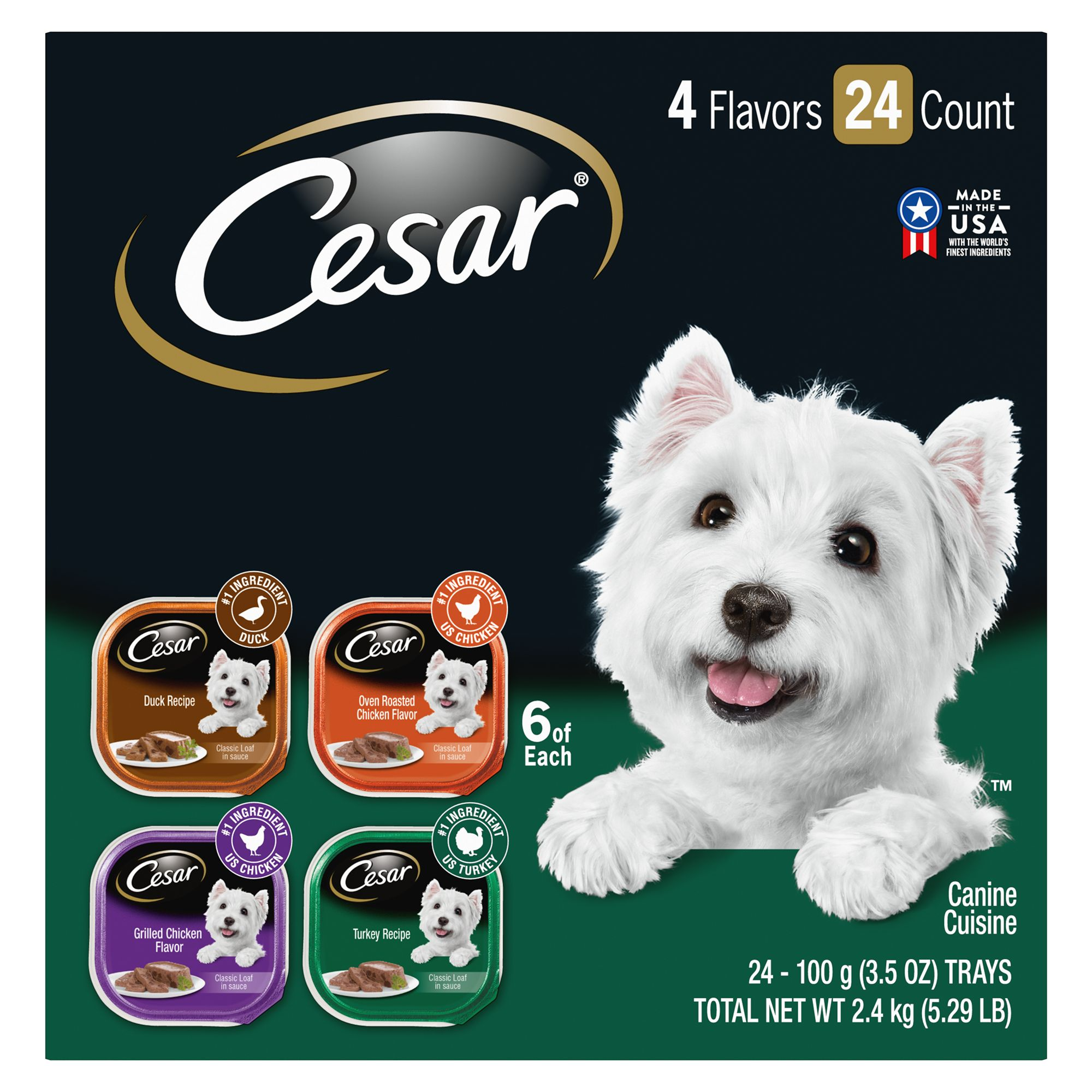 Cesar Canine Cuisines Poultry Variety Pack Dog Food Size 3.5 Oz