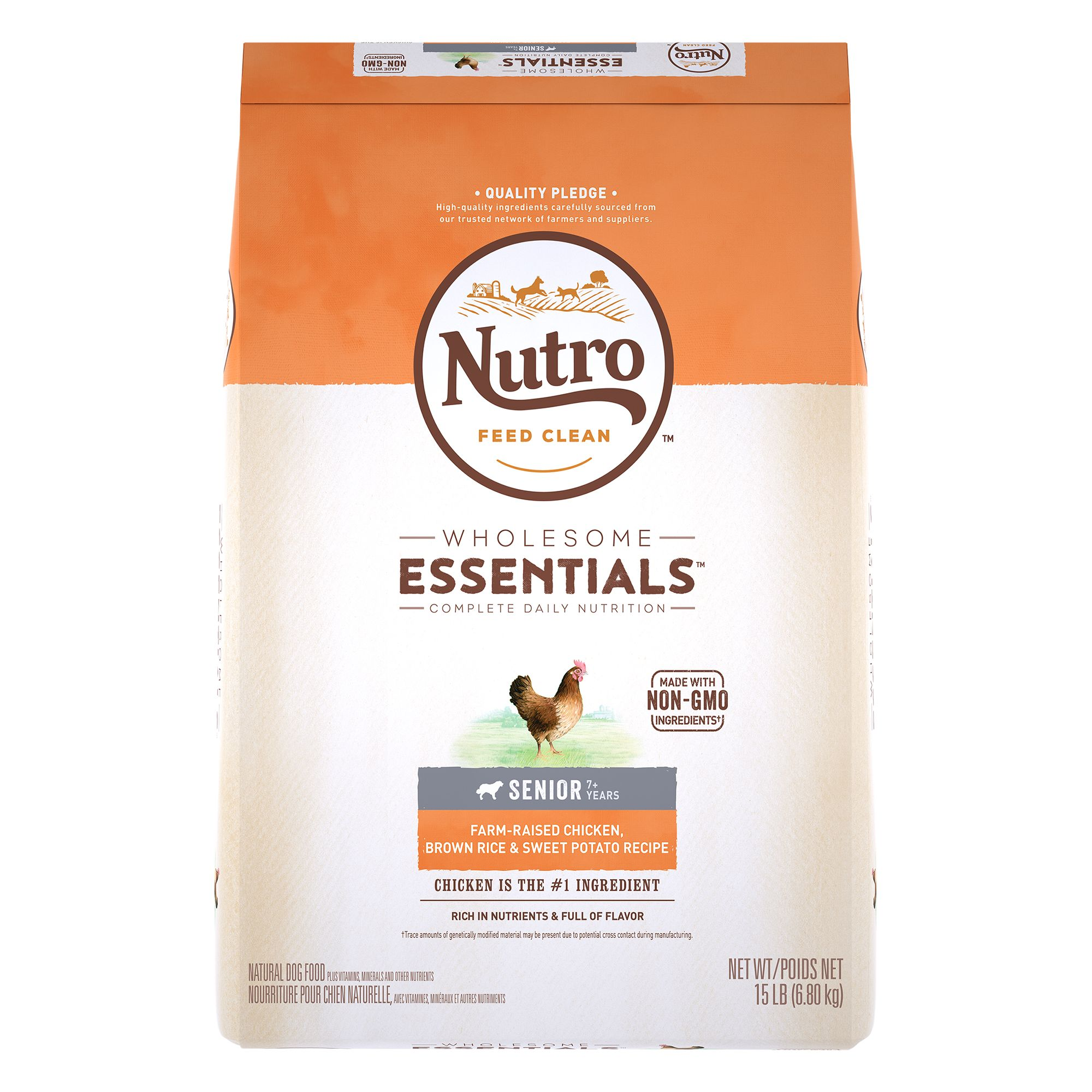 Nutro, Wholesome Essentials Senior Dog Food- Natural, Non-GMO, Chicken, Brown Rice and Sweet Pot size: 15 Lb 5231187