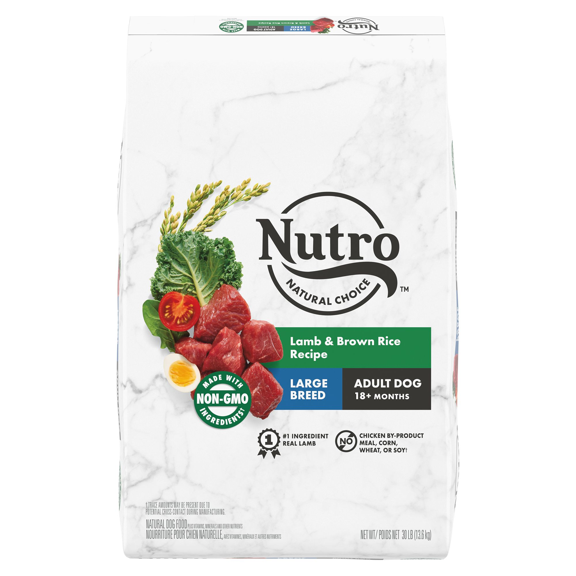 Nutro, Wholesome Essentials Large Breed Adult Dog Food - Natural, Non-GMO, Lamb and Rice size: 30 Lb, Kibble, (1-7 years) 5231399