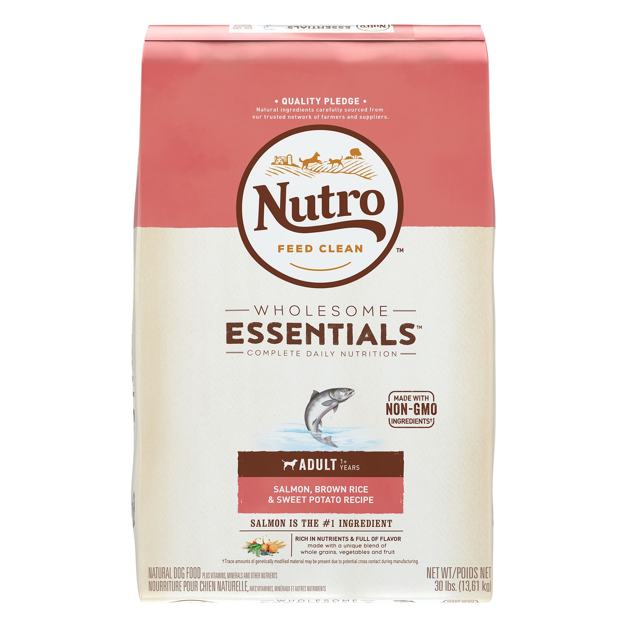 Nutro, Wholesome Essentials Adult Dog Food - Natural, Salmon, Brown Rice and Sweet Potato size: 30 Lb, Kibble, (1-7 years) 5231647