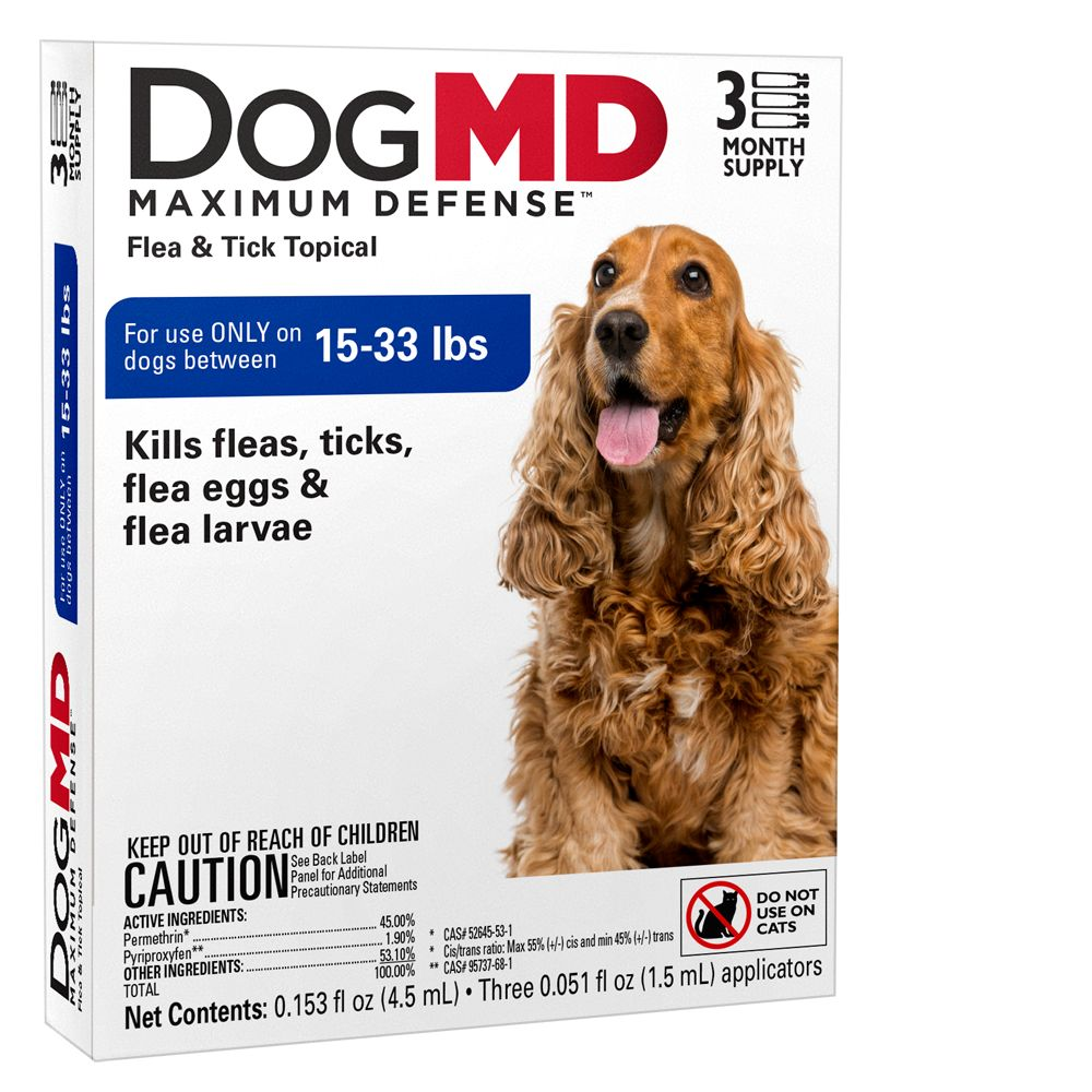 Dog Md Maximum Defense 15 33 Lb Dog Flea And Tick Treatment