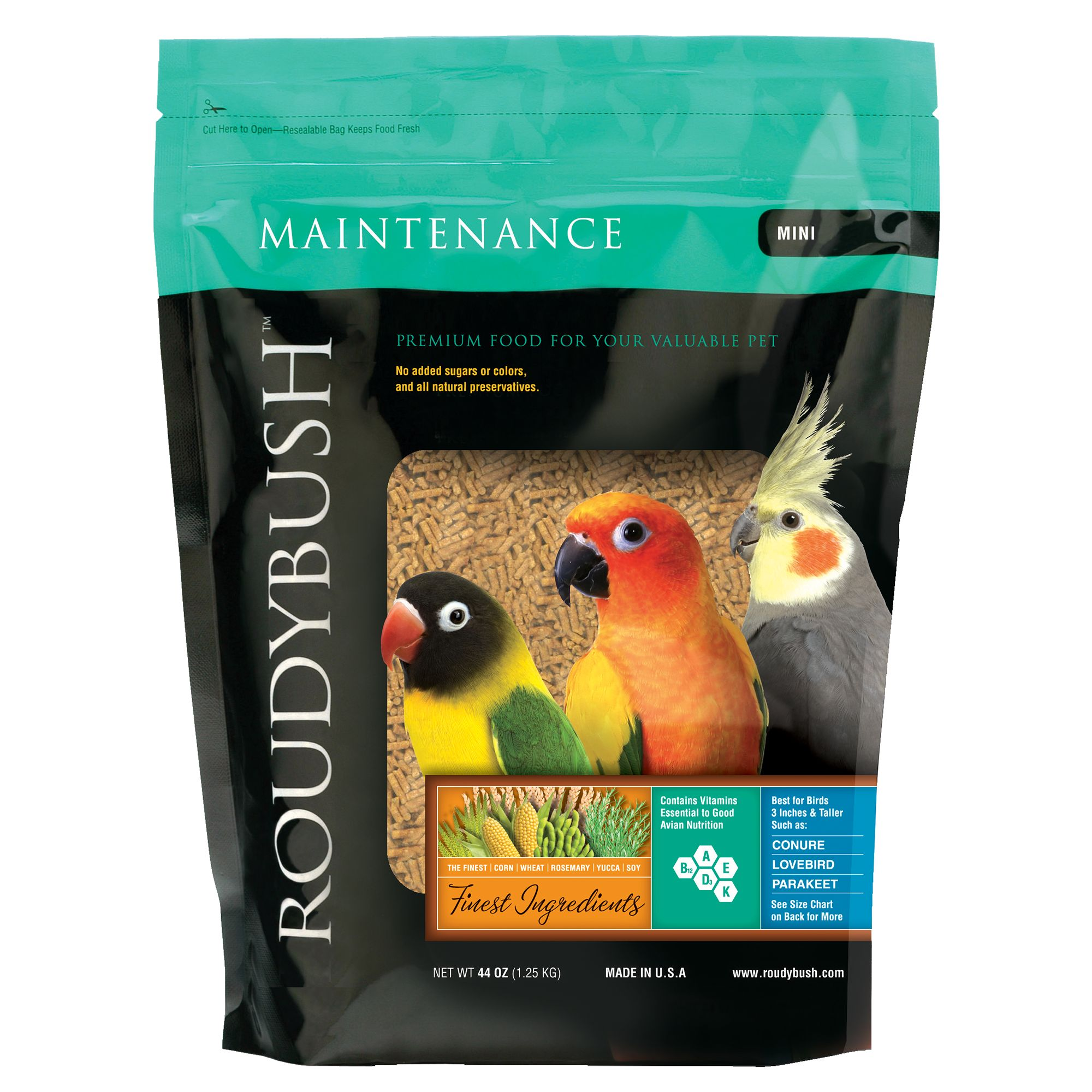 Roudybush Maintenance Mini Pellets Bird Food Size 44 Oz