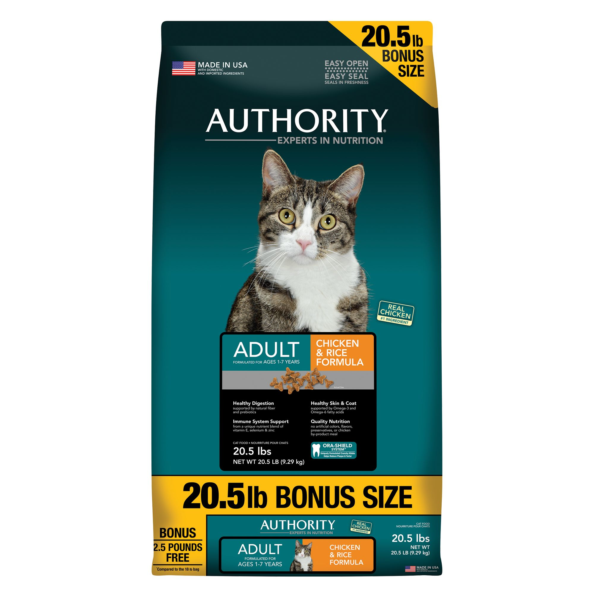 Authority Adult Cat Food Chicken And Rice Size 20.5 Lb Bonus Bag