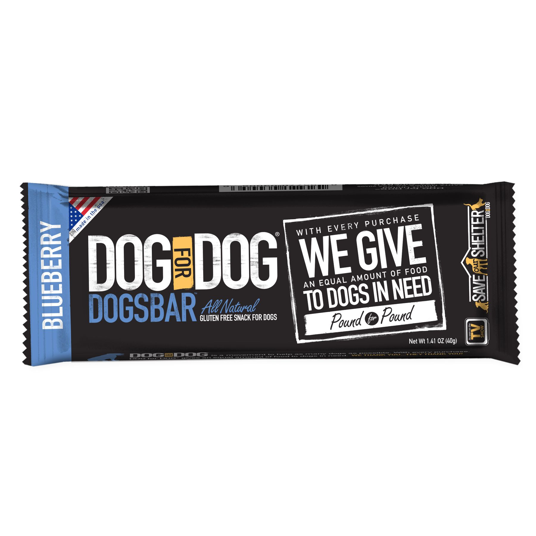 Dog For Dog Dogsbar Blueberry Natural And Gluten Free Dog Treat Size 1.41 Oz