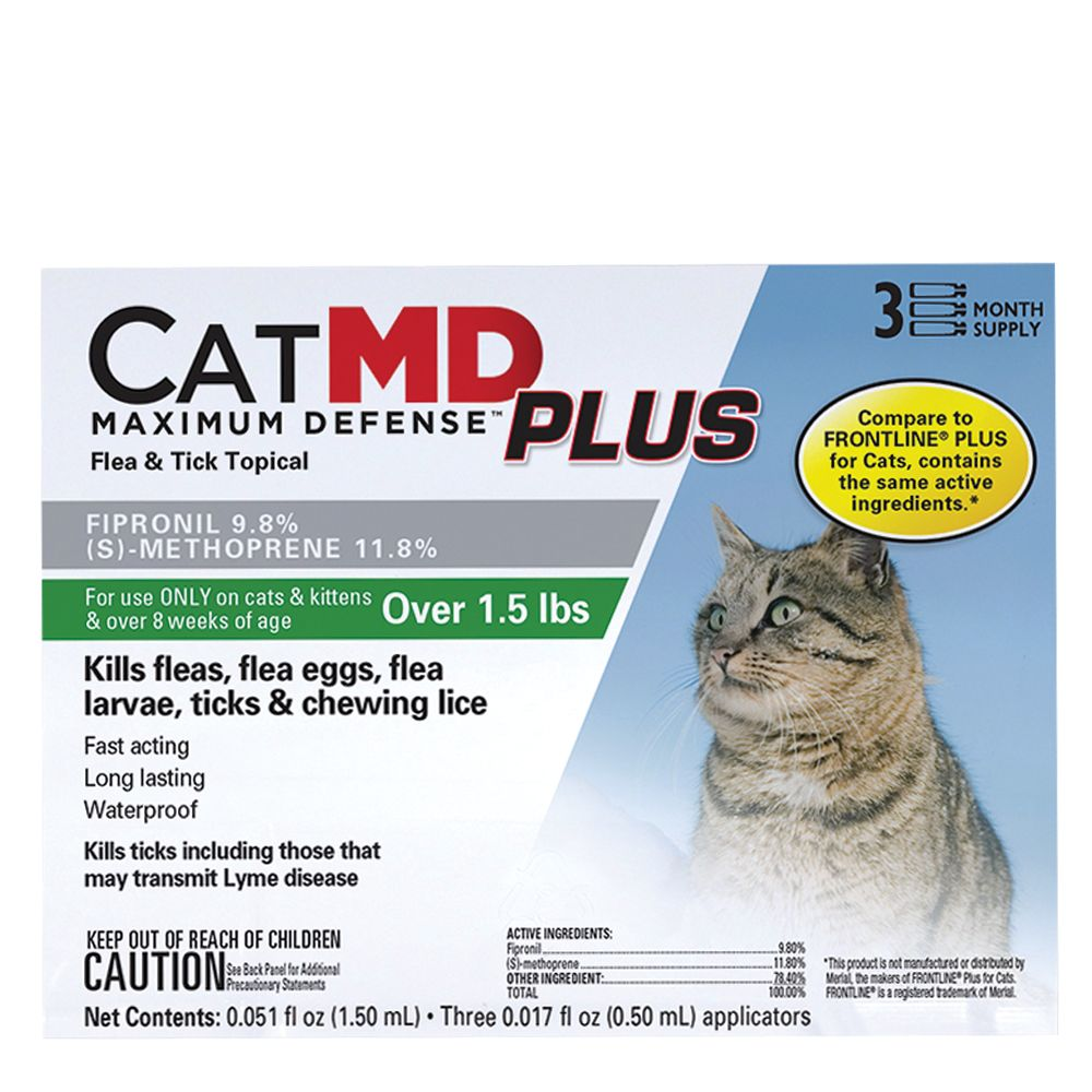 Cat Md Plus Maximun Defense Flea And Tick Topical Compare To Frontline Plus Size 3 Count