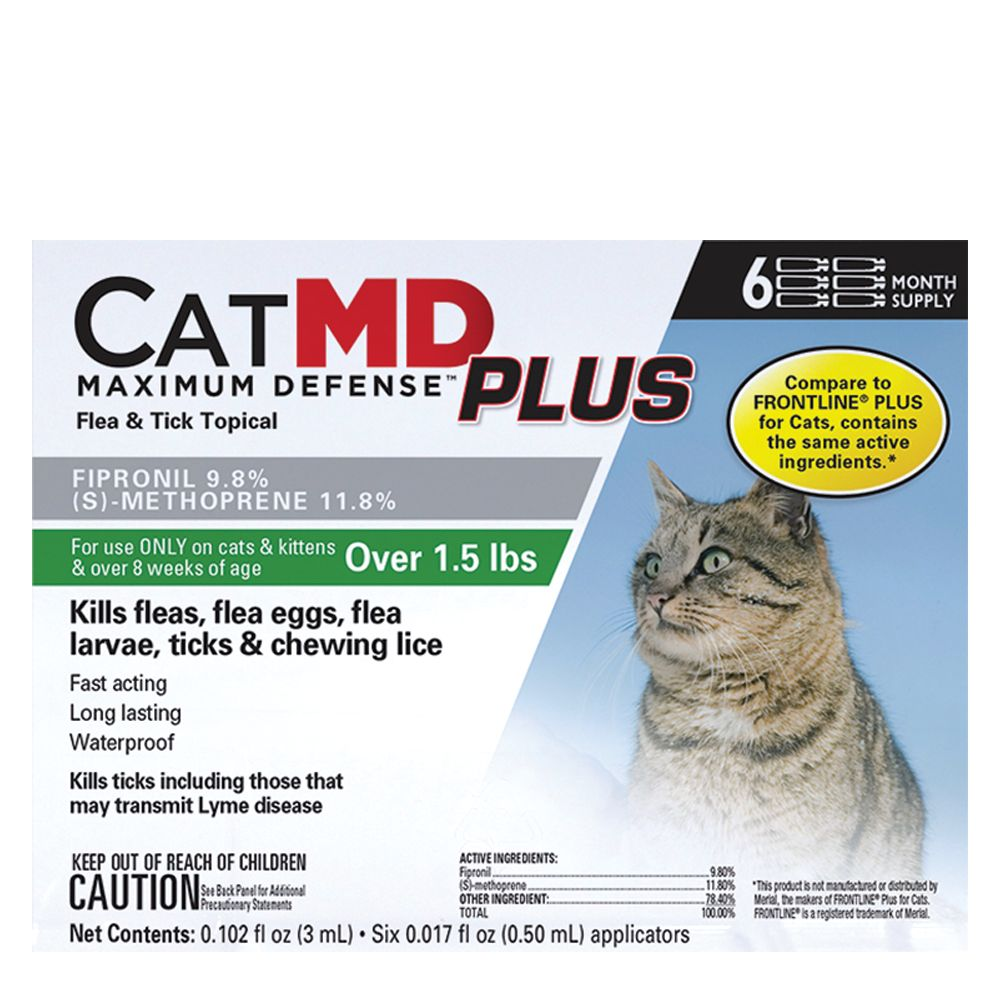 Cat Md Plus Maximun Defense Flea And Tick Topical Compare To Frontline Plus Size 6 Count