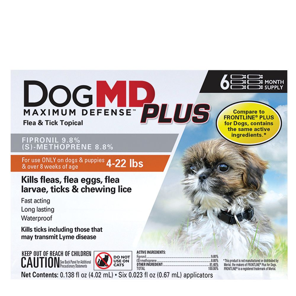 Dog Md Plus 4 22 Lb Dog Flea And Tick Treatment Compare To Frontline Plus Size 6 Count