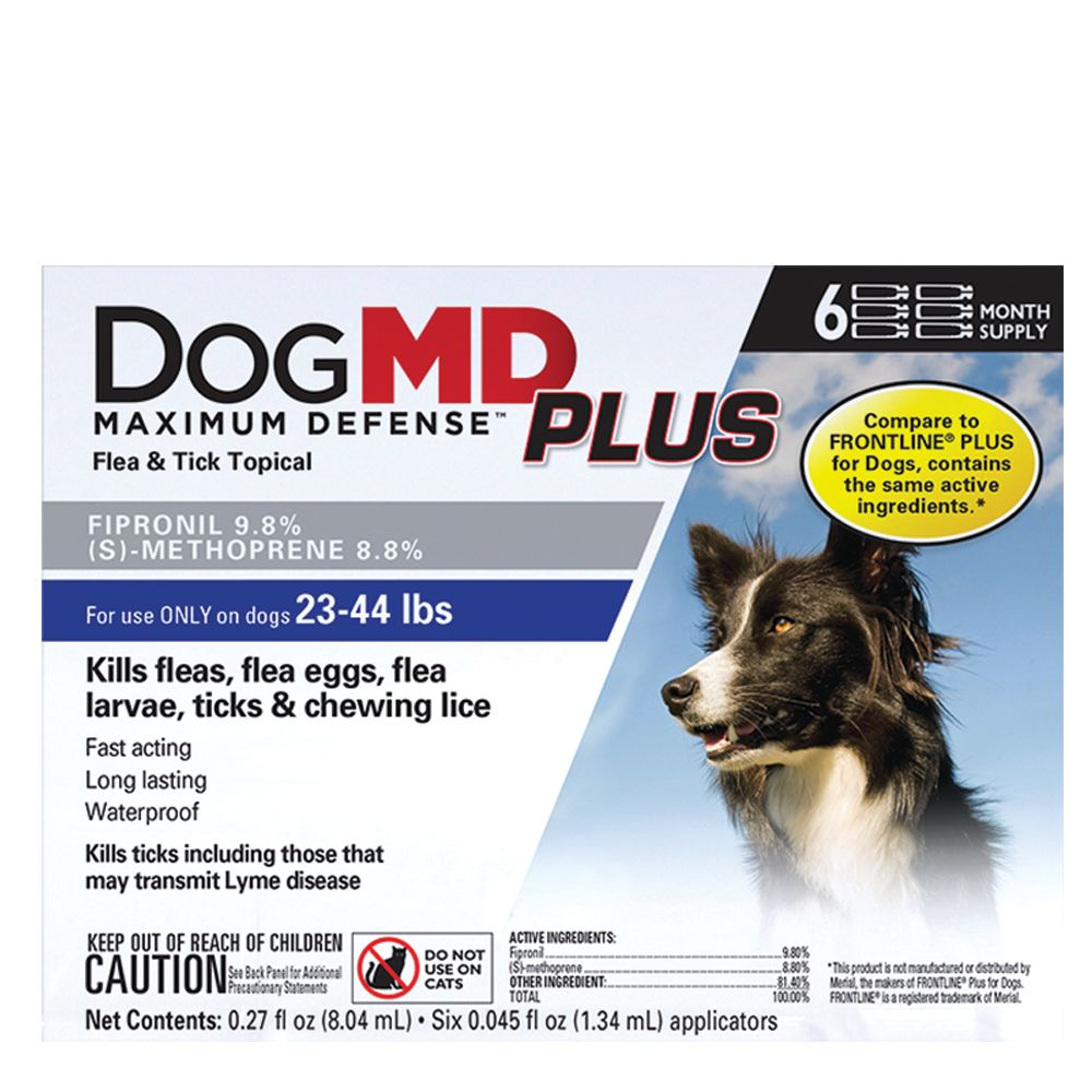 Dog Md Plus 23 44 Lb Dog Flea And Tick Treatment Compare To Frontline Plus Size 6 Count