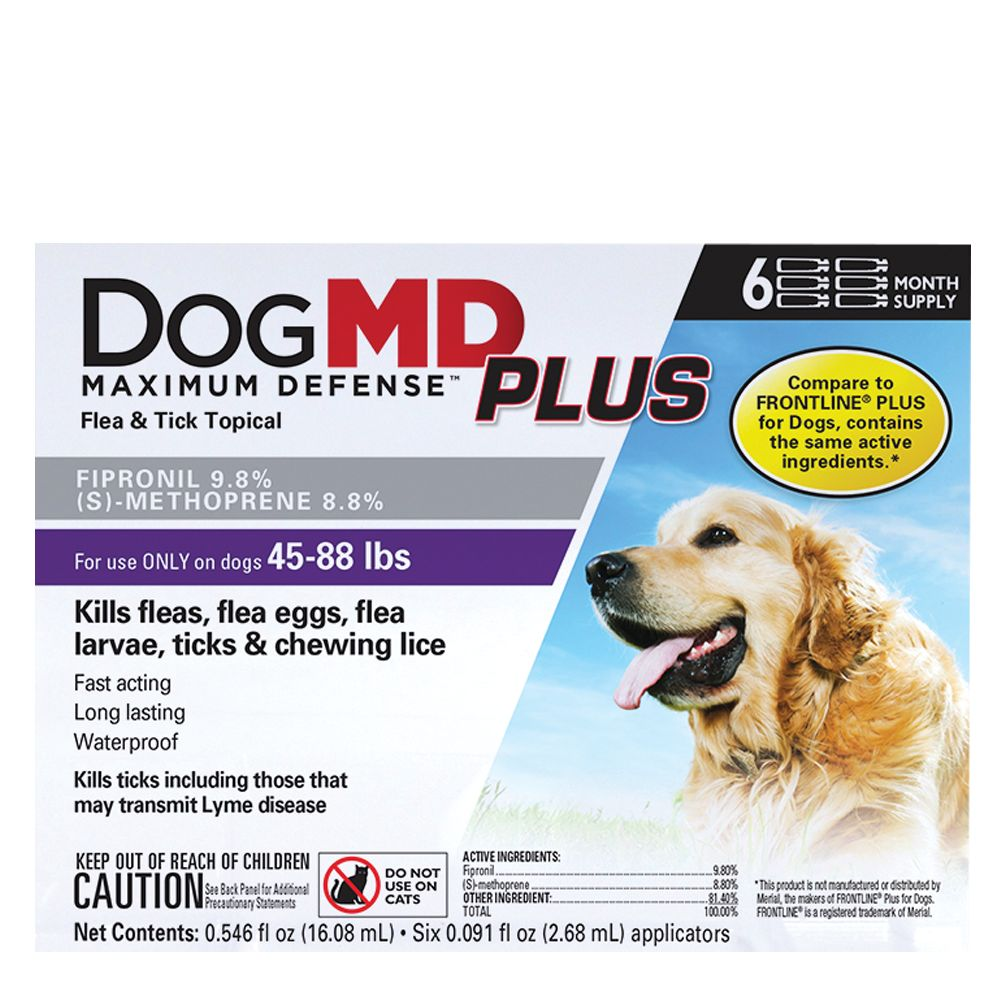 Dog Md Plus 45 88 Lb Dog Flea And Tick Treatment Compare To Frontline Plus Size 6 Count