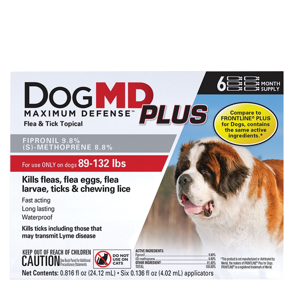 Dog Md Plus 89 132 Lb Dog Flea And Tick Treatment Compare To Frontline Plus Size 6 Count