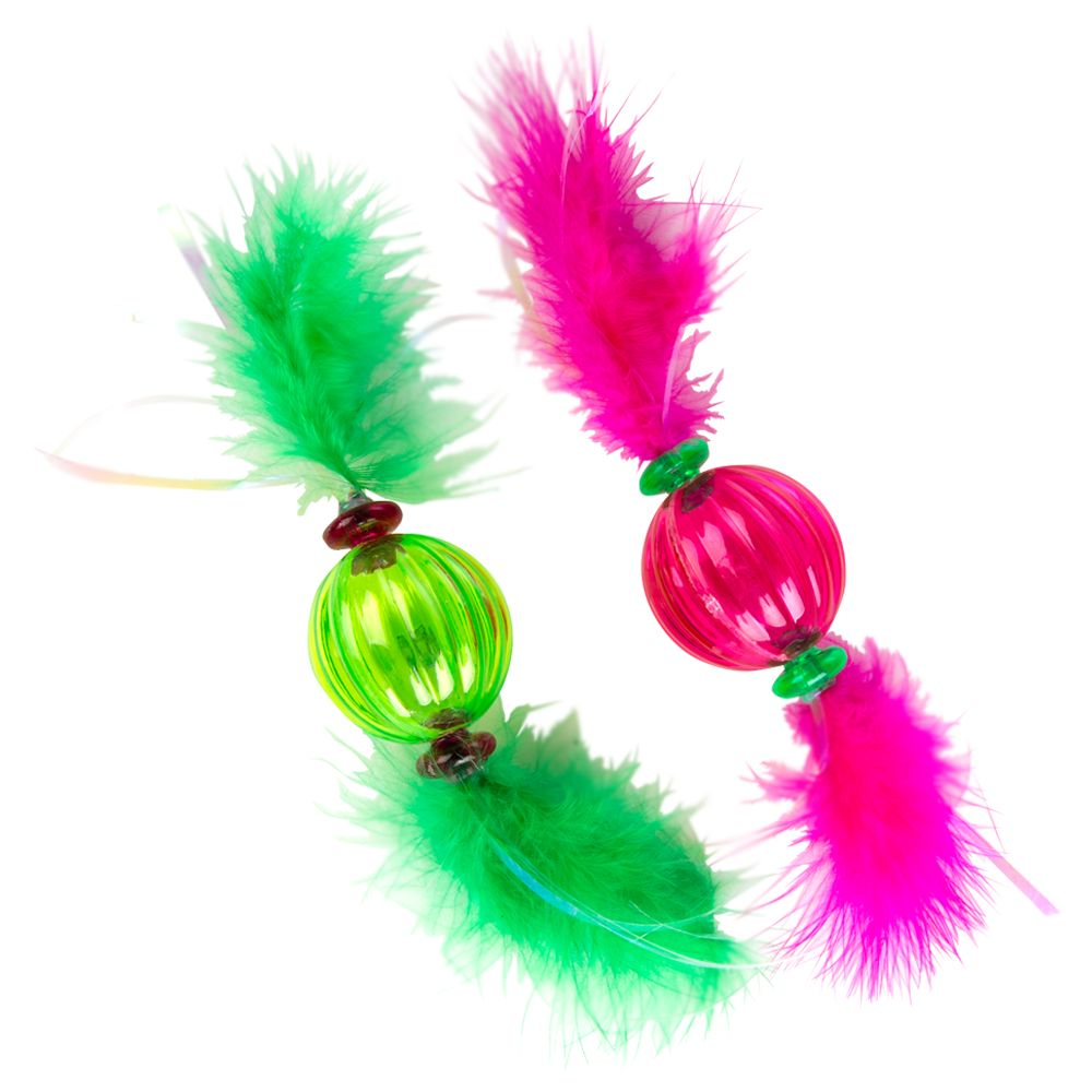 Grreat Choice 2 Pack Feather Ball Cat Toy