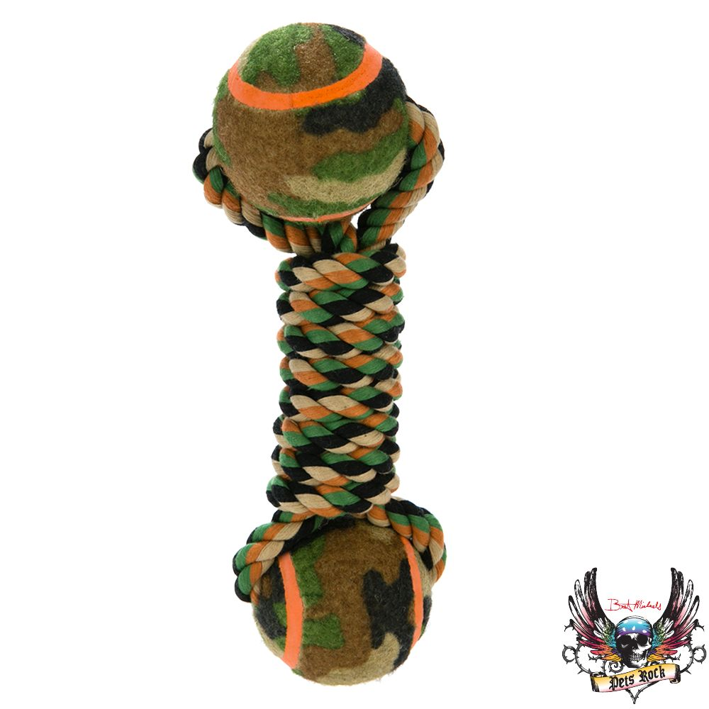 Bret Michaels Pets Rock, Camo Dumbbell Dog Toy 5236032