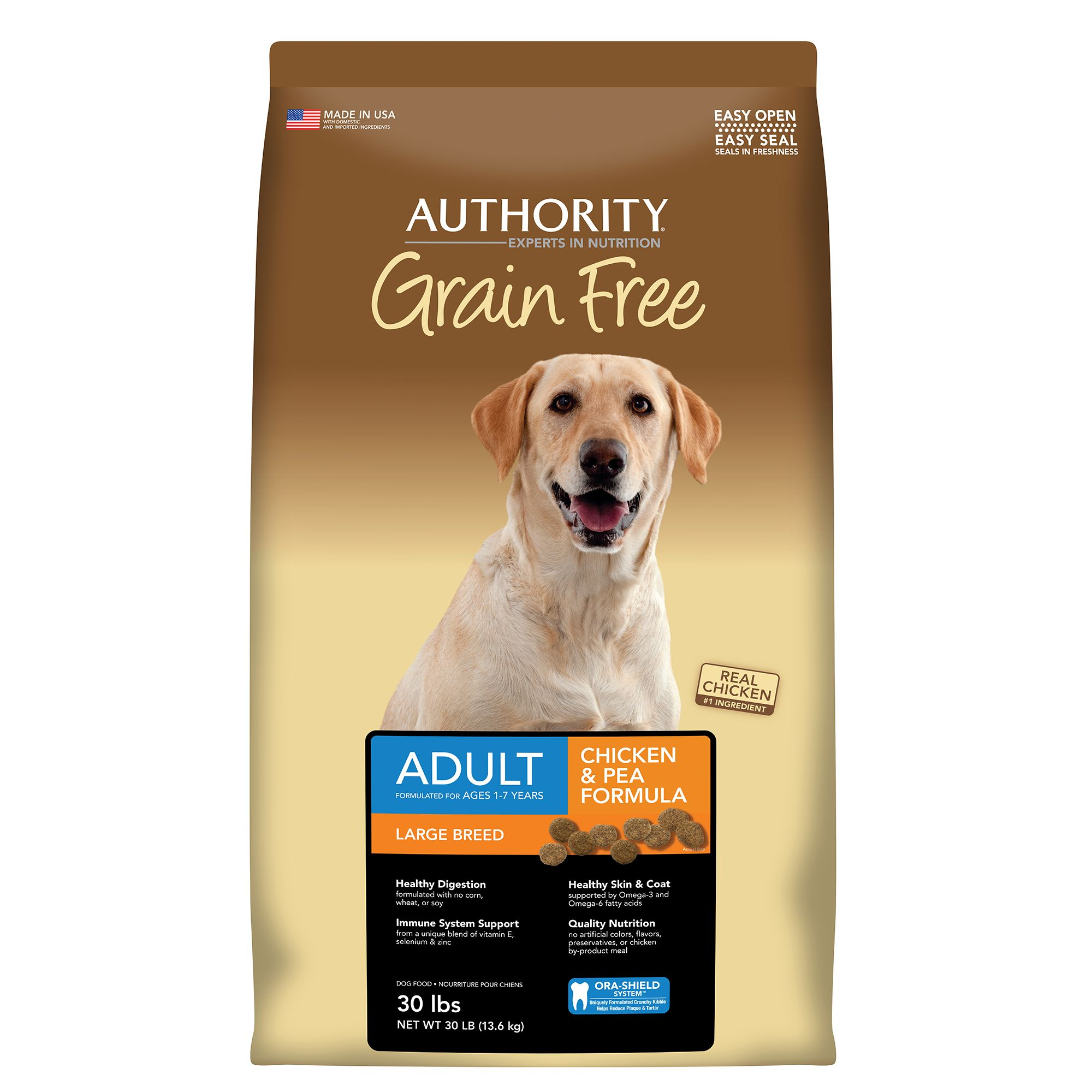 Authority® Large Breed Adult Dog Food - Grain Free, Chicken and Pea size: 30 Lb