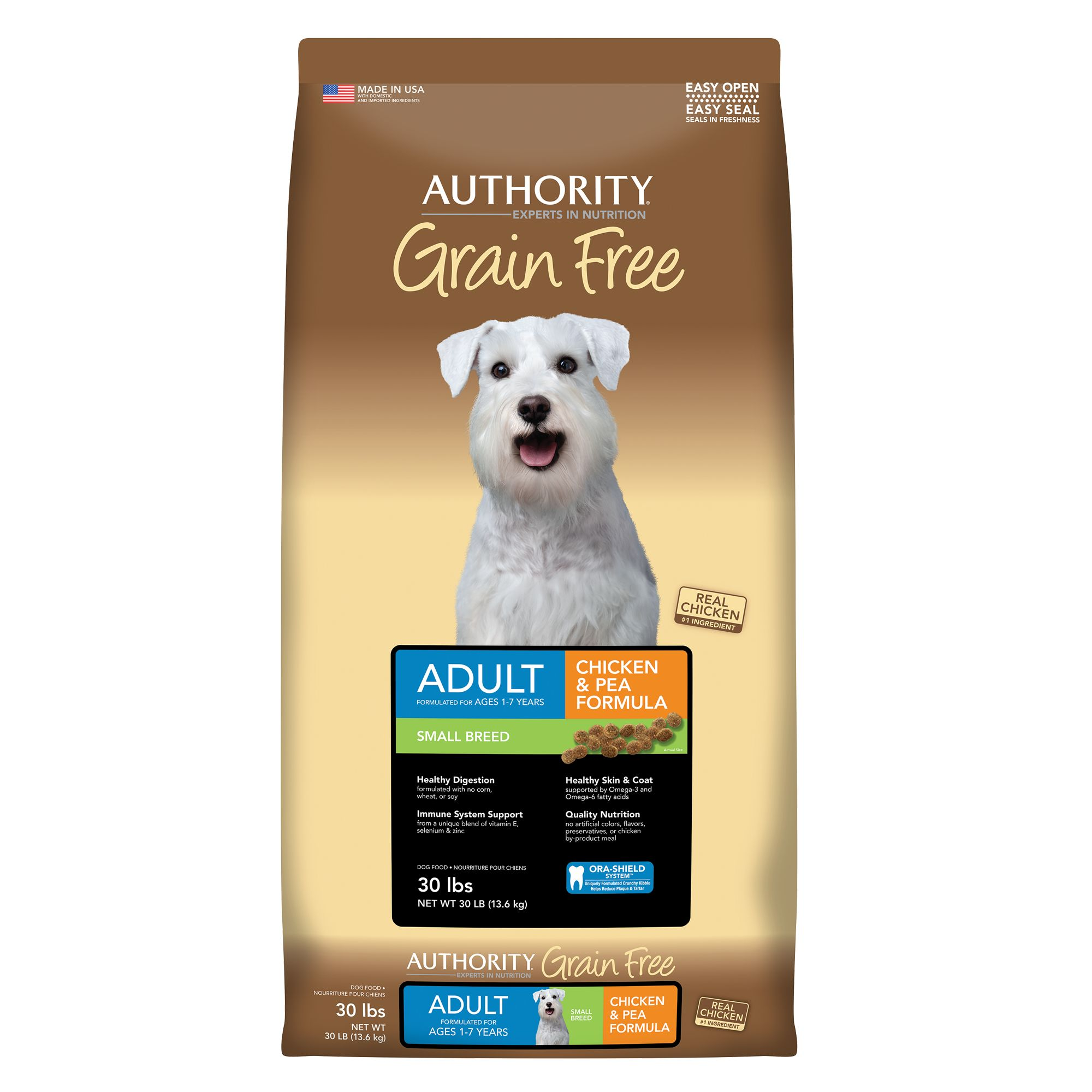 Authority® Small Breed Adult Dog Food - Grain Free, Chicken and Pea size: 30 Lb