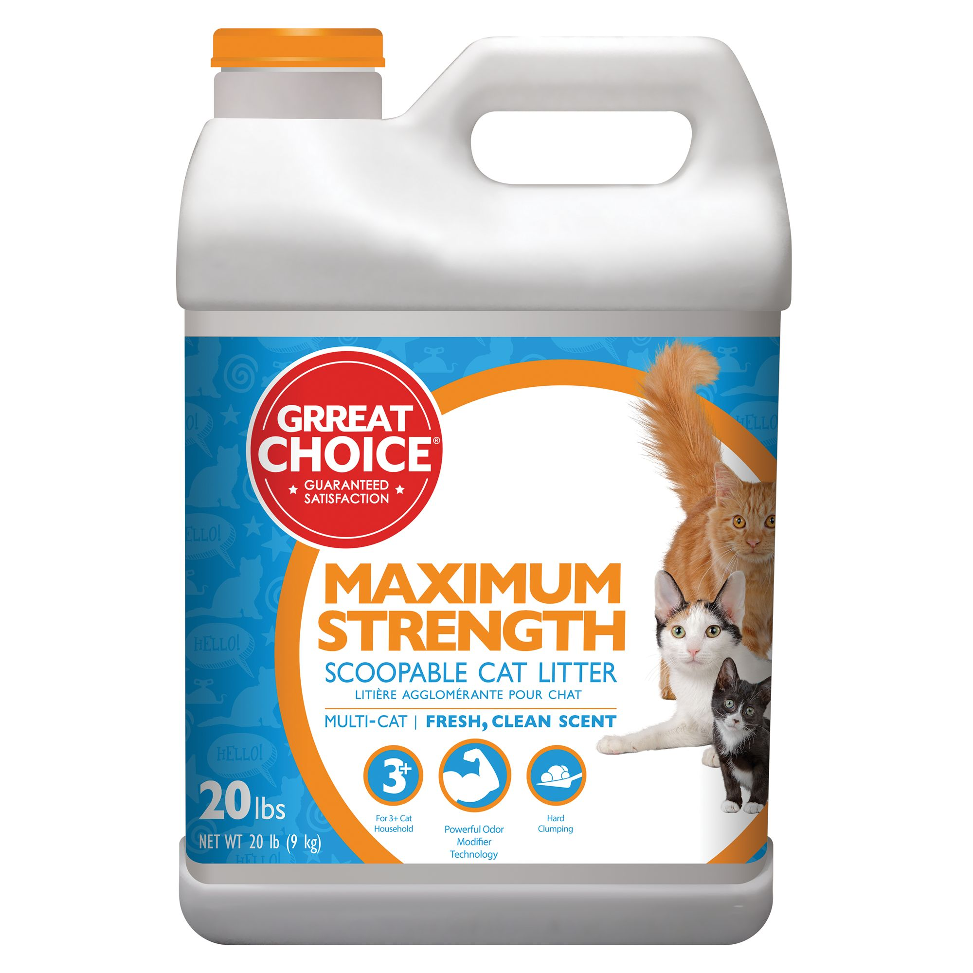 Grreat Choice Maximum Strength Cat Litter - Scoopable, Multi-Cat, Fresh Scent size: 20 Lb 5237042
