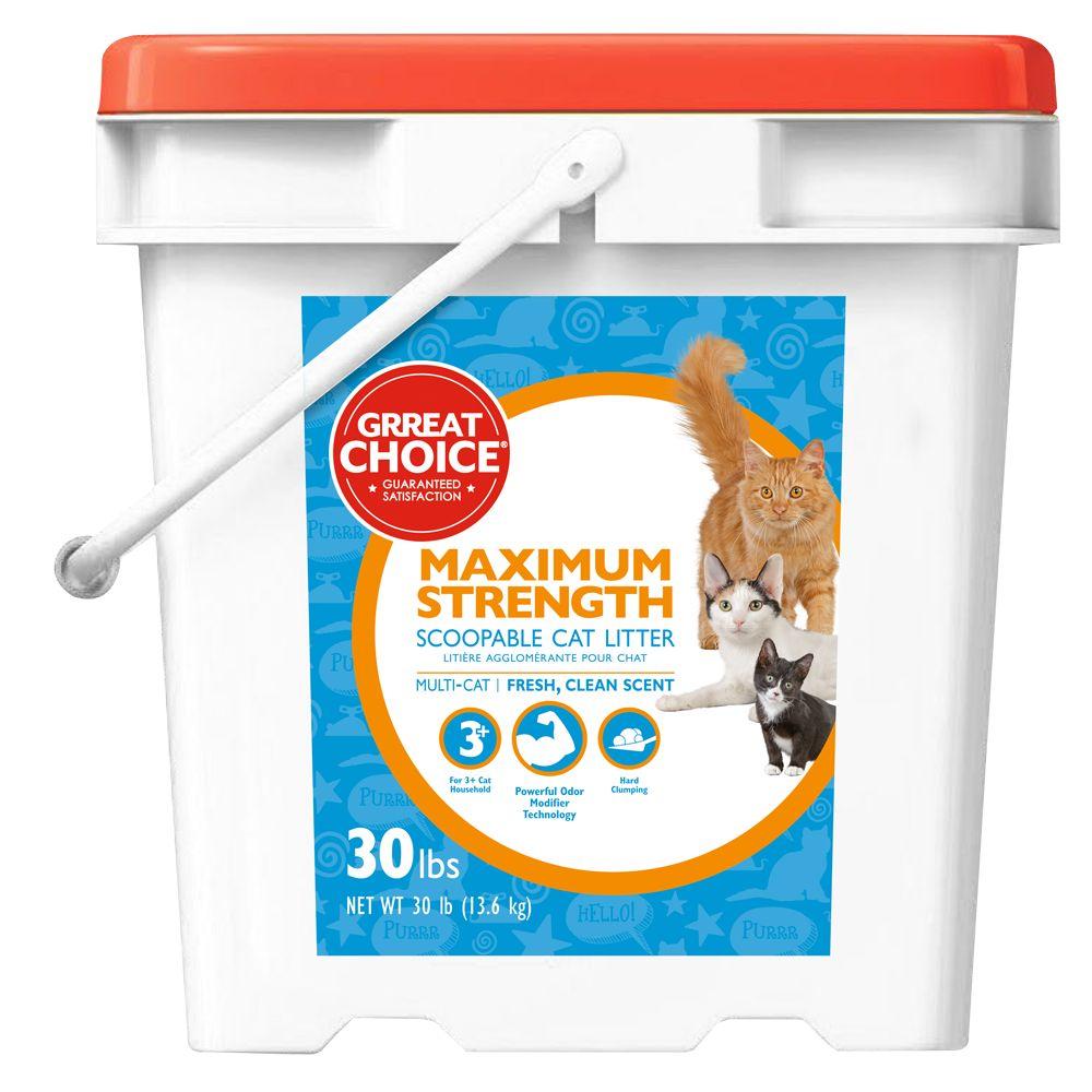 Grreat Choice® Maximun Strength Cat Litter - Scoopable, Muliti-Cat, Fresh Scent size: 30 Lb 5237043