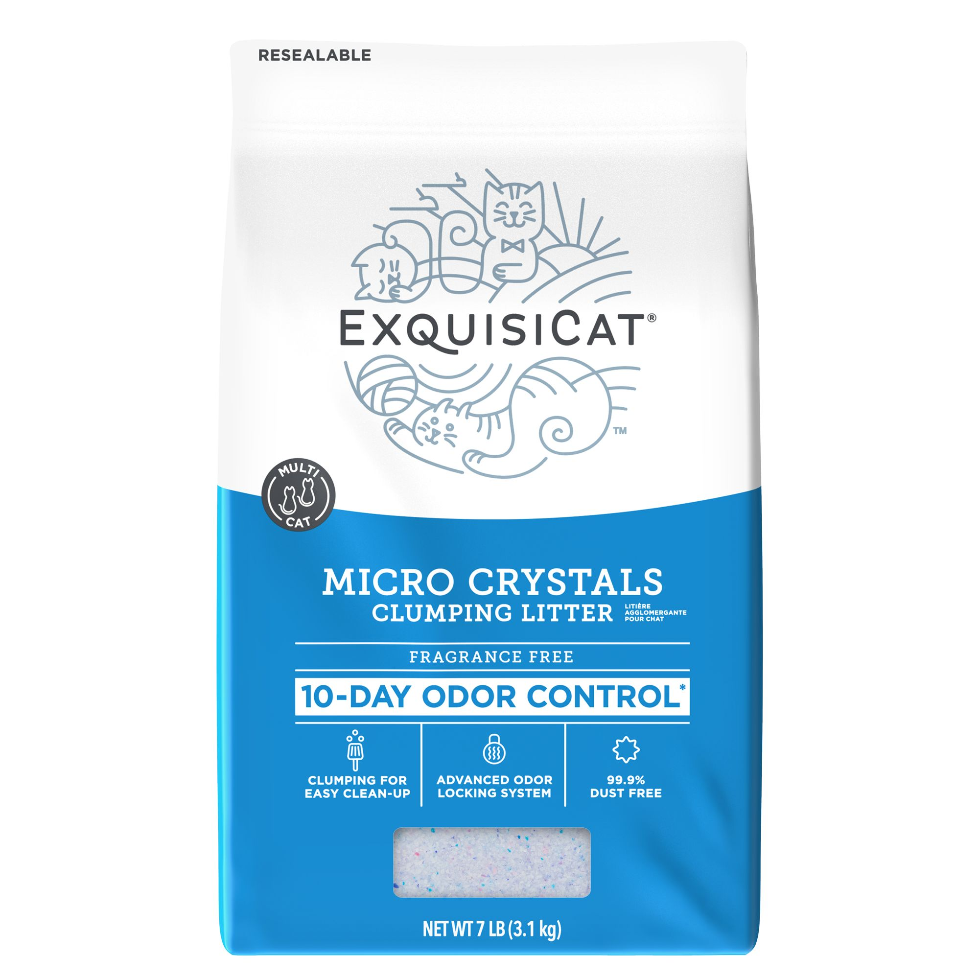 Exquisicat Fragrance Free Clumping Micro Crystals Cat Litter Size 7 Lb
