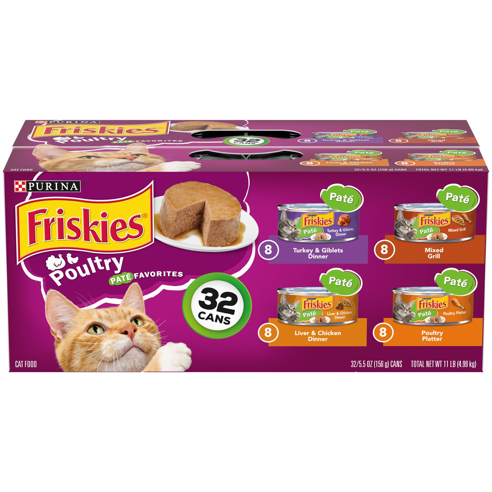Purina Friskies Cat Food Poultry Favorites Classic Pate 32 Can Value Pack Size 5.5 Oz