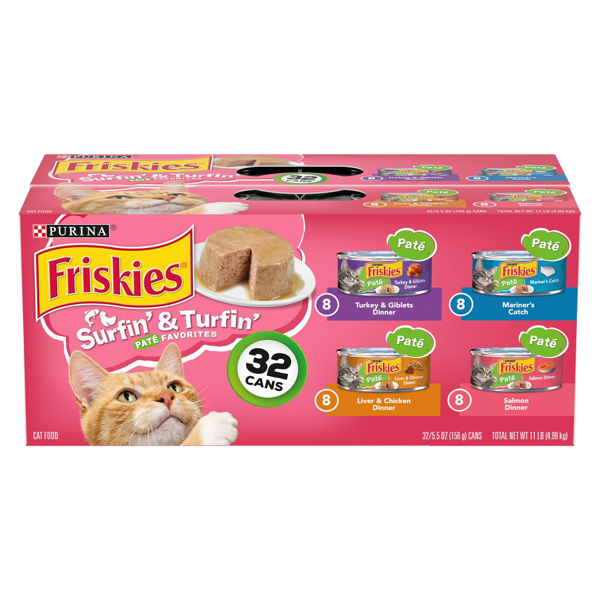 Purina Friskies Cat Food Surfin And Turfin Classic Pate 32 Can Value Pack Size 5.5 Oz