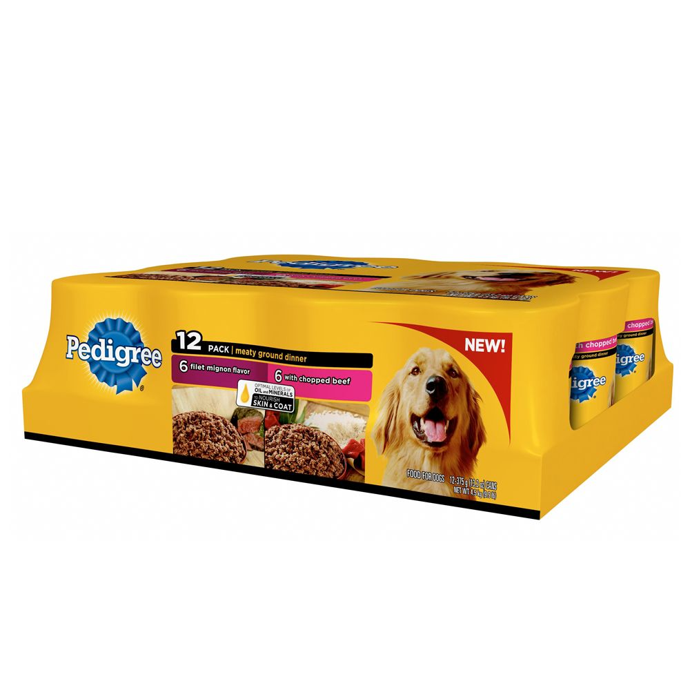 Pedigree® Meaty Ground Dinner Dog Food - Beef, Skin and Coat, 12 Pack 5237625
