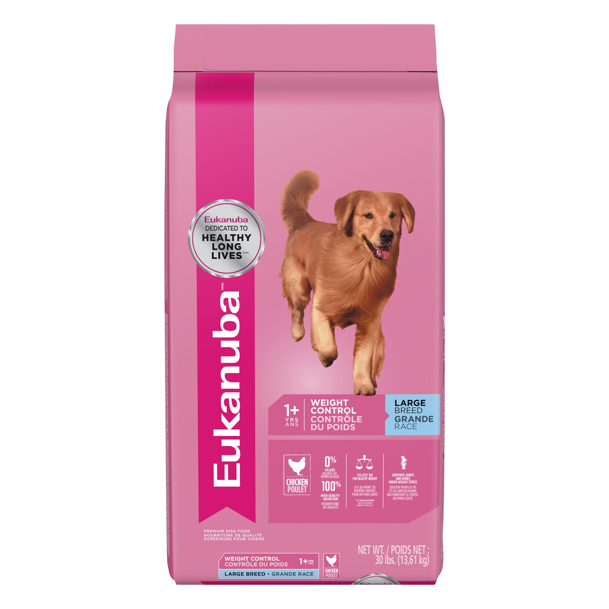 Eukanuba Adult Dog Food Chicken Weight Control Large Breed Size 30 Lb