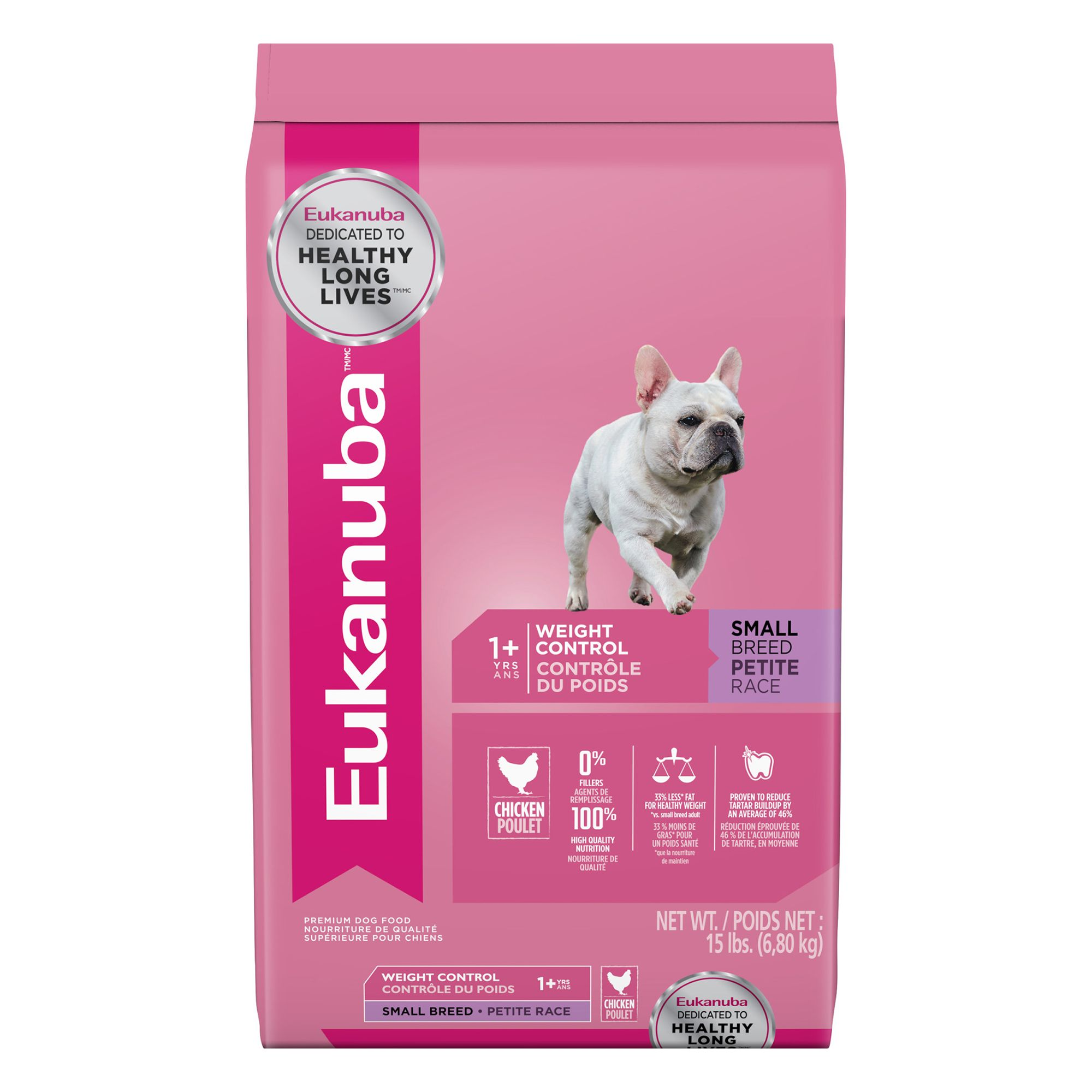 Eukanuba Adult Dog Food Chicken Weight Control Small Breed Size 15 Lb