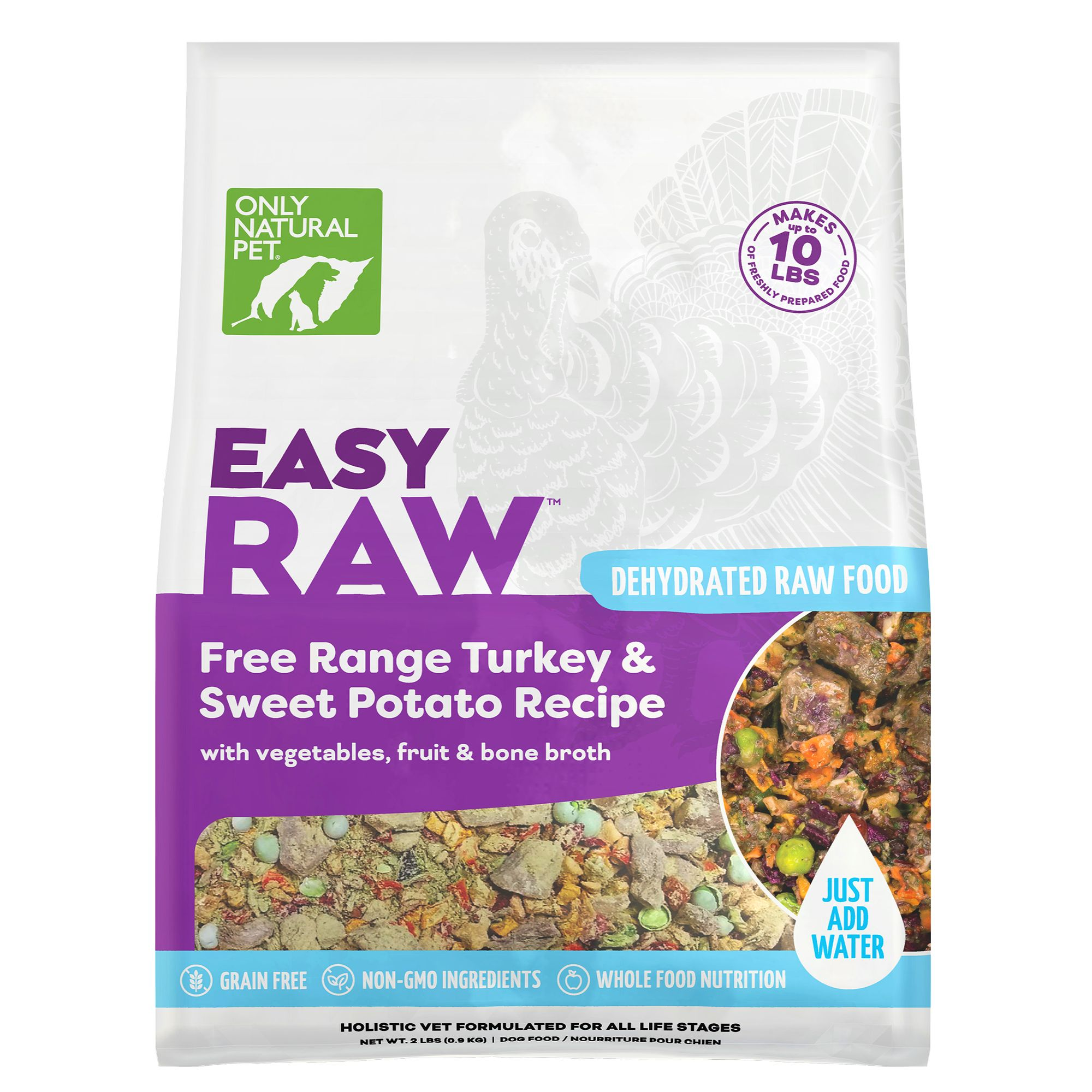 Only Natural Pet EasyRaw Dog Food - Raw, Grain Free, Dehydrated, Turkey and Sweet Potato size: 2 Lb, Raw Dehydrated Dog Food, All Life Stages