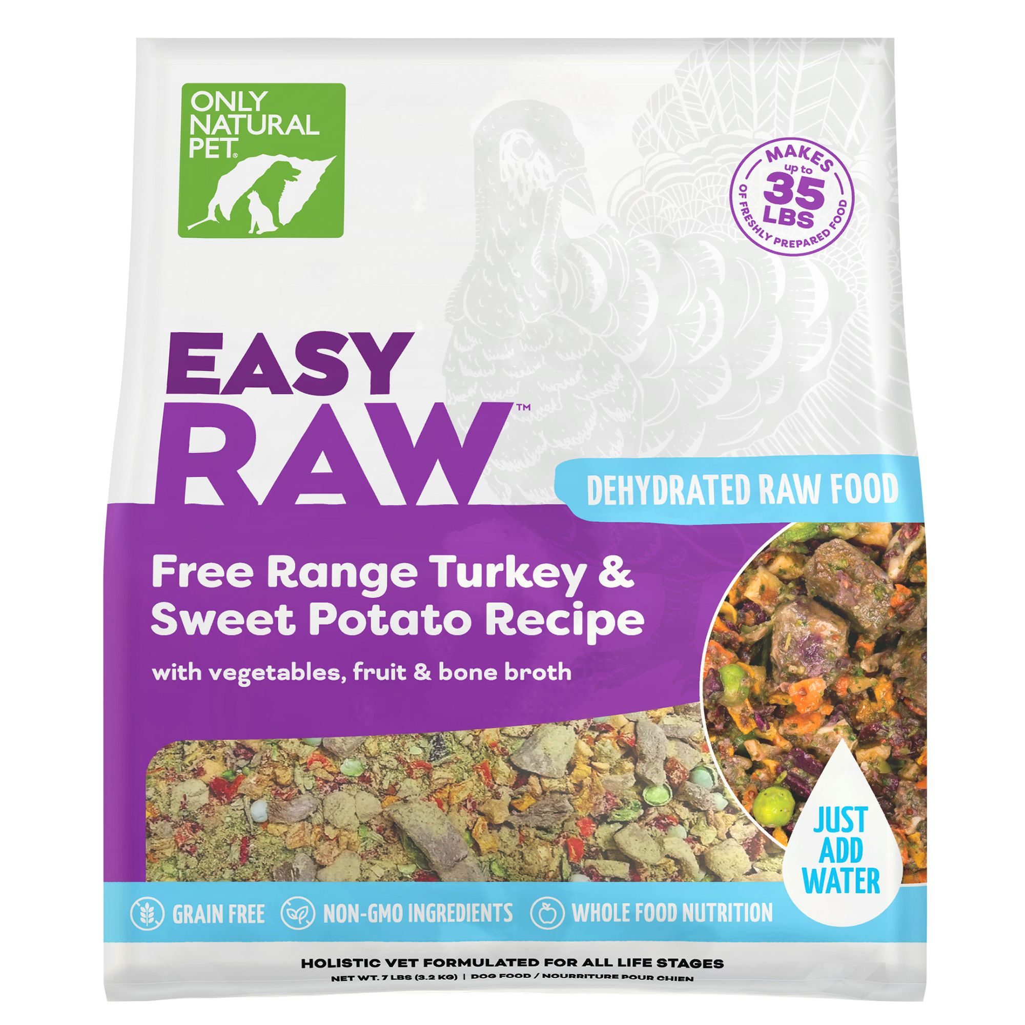 Only Natural Pet EasyRaw Dog Food - Raw, Grain Free, Dehydrated, Turkey and Sweet Potato size: 7 Lb