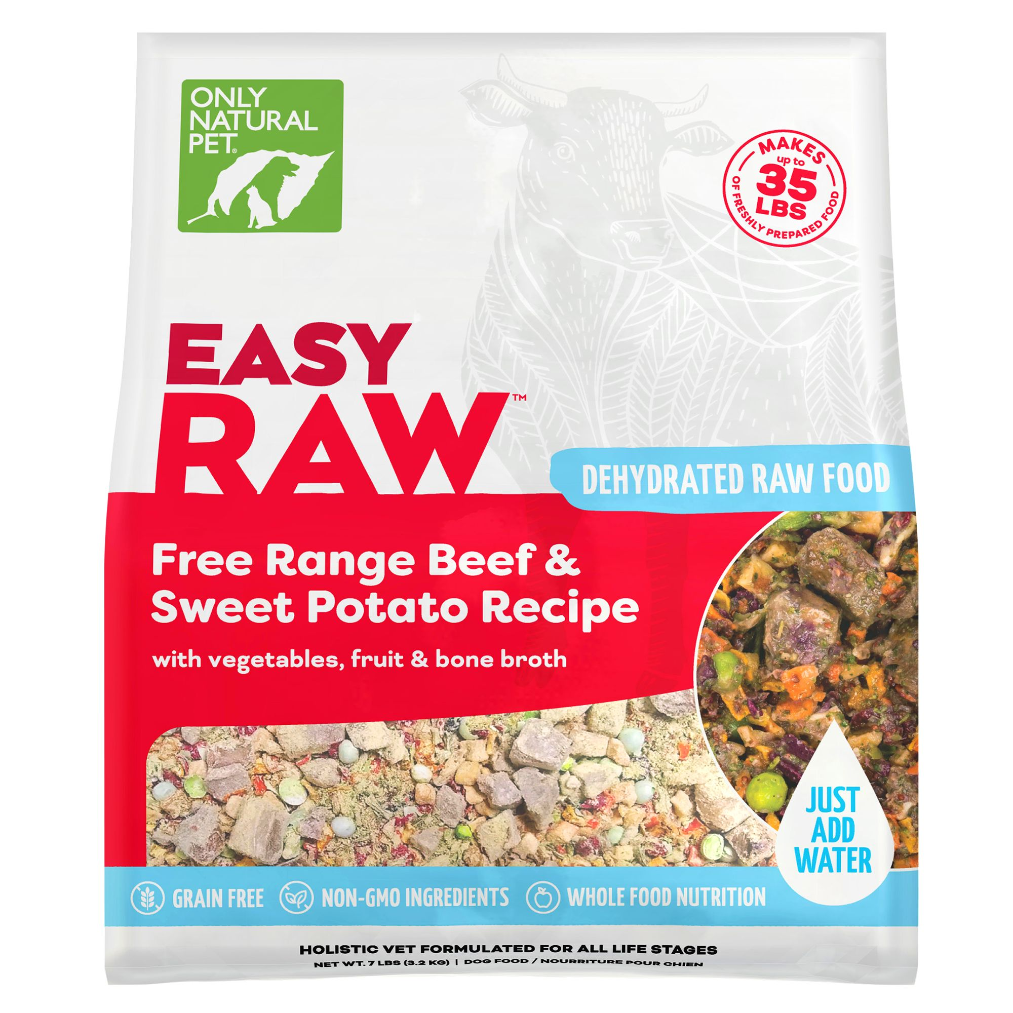 Only Natural Pet EasyRaw Dog Food - Raw, Grain Free, Dehydrated, Beef and Sweet Potato size: 7 Lb