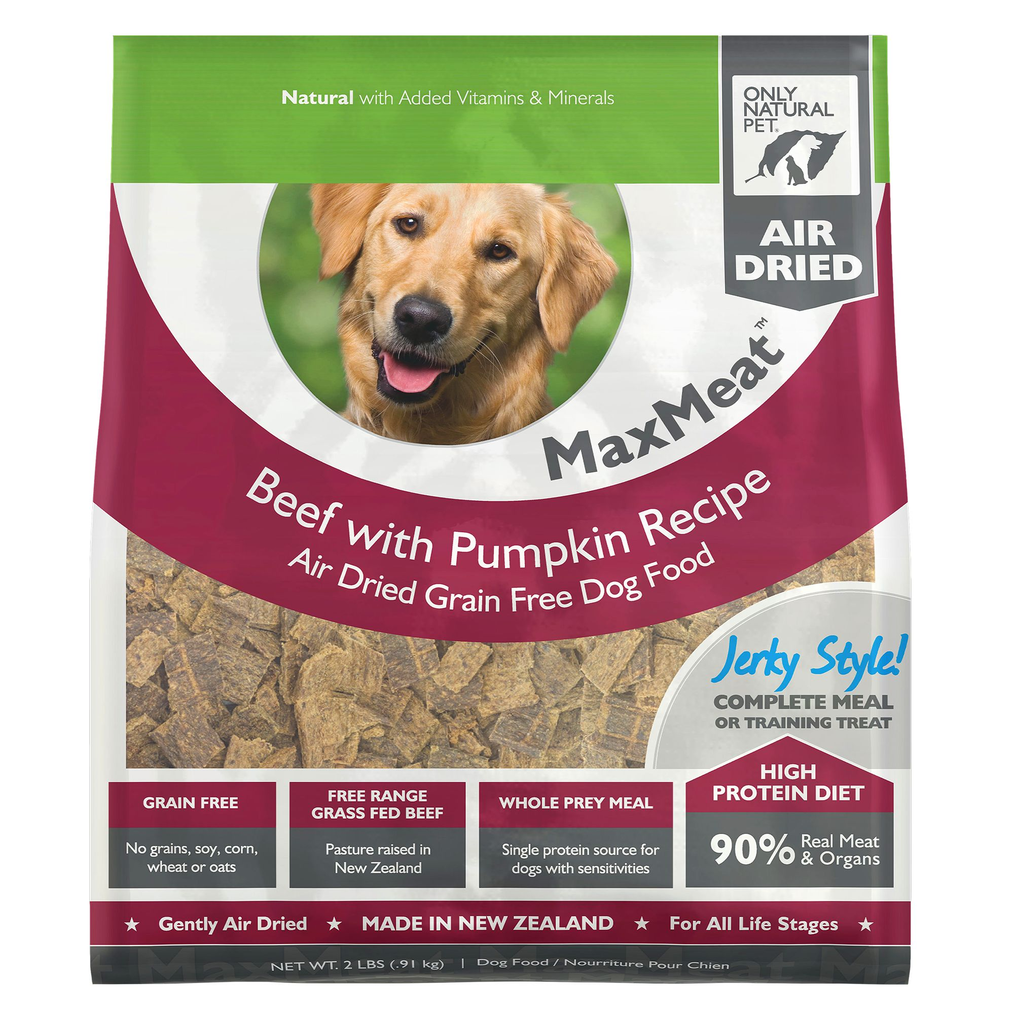 Only Fitting Pet MaxMeat Dog Food - Grain Free, Air Dried, Beef size: 2 Lb, Beef with Pumpkin & Parsley, Soft Jerky-Style Chew, All Life Stages