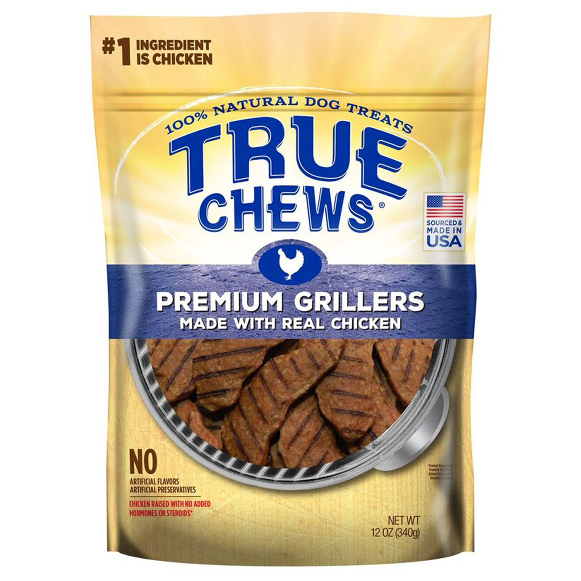 True Chews Premium Grillers Dog Treat - Natural, Chicken size: 12 Oz, Puppy to Senior 5238814