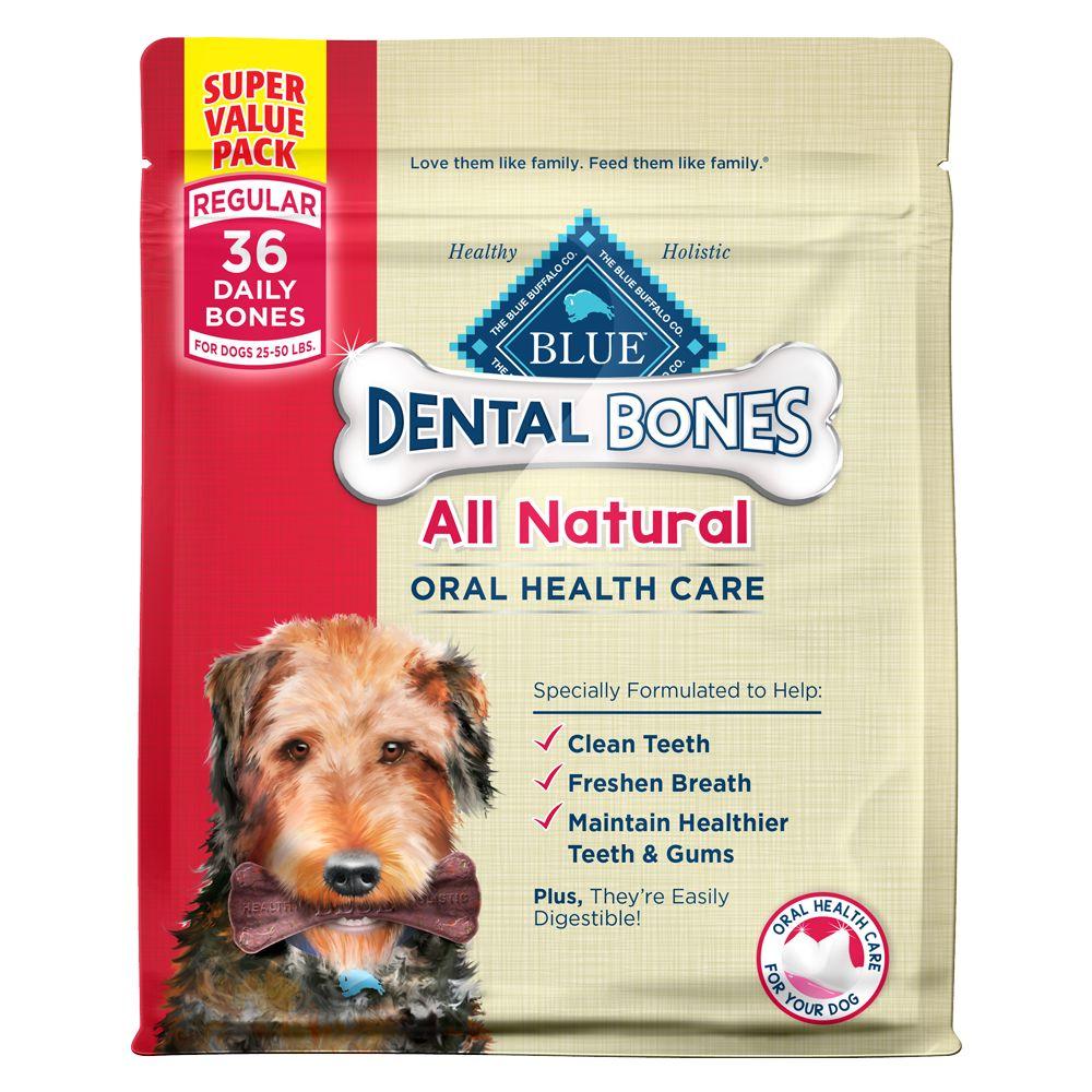 Blue Dental Bones, Regular Dog Treat - Natural size: 36 Oz